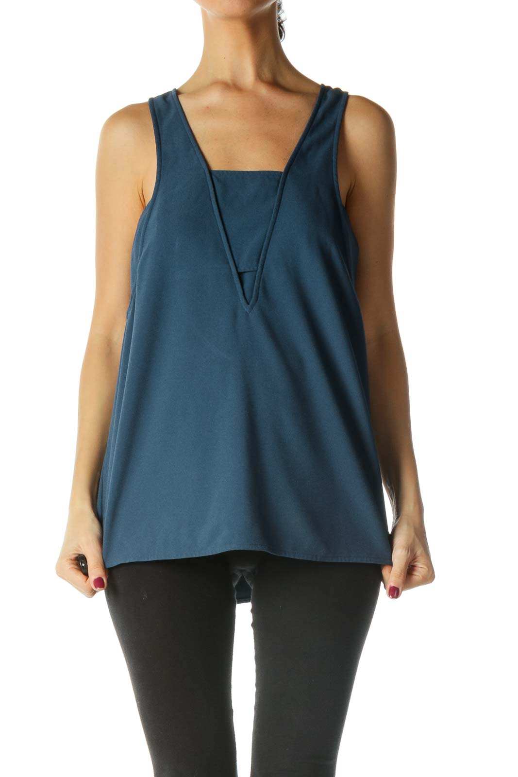 Blue Open Back Tank Top Front