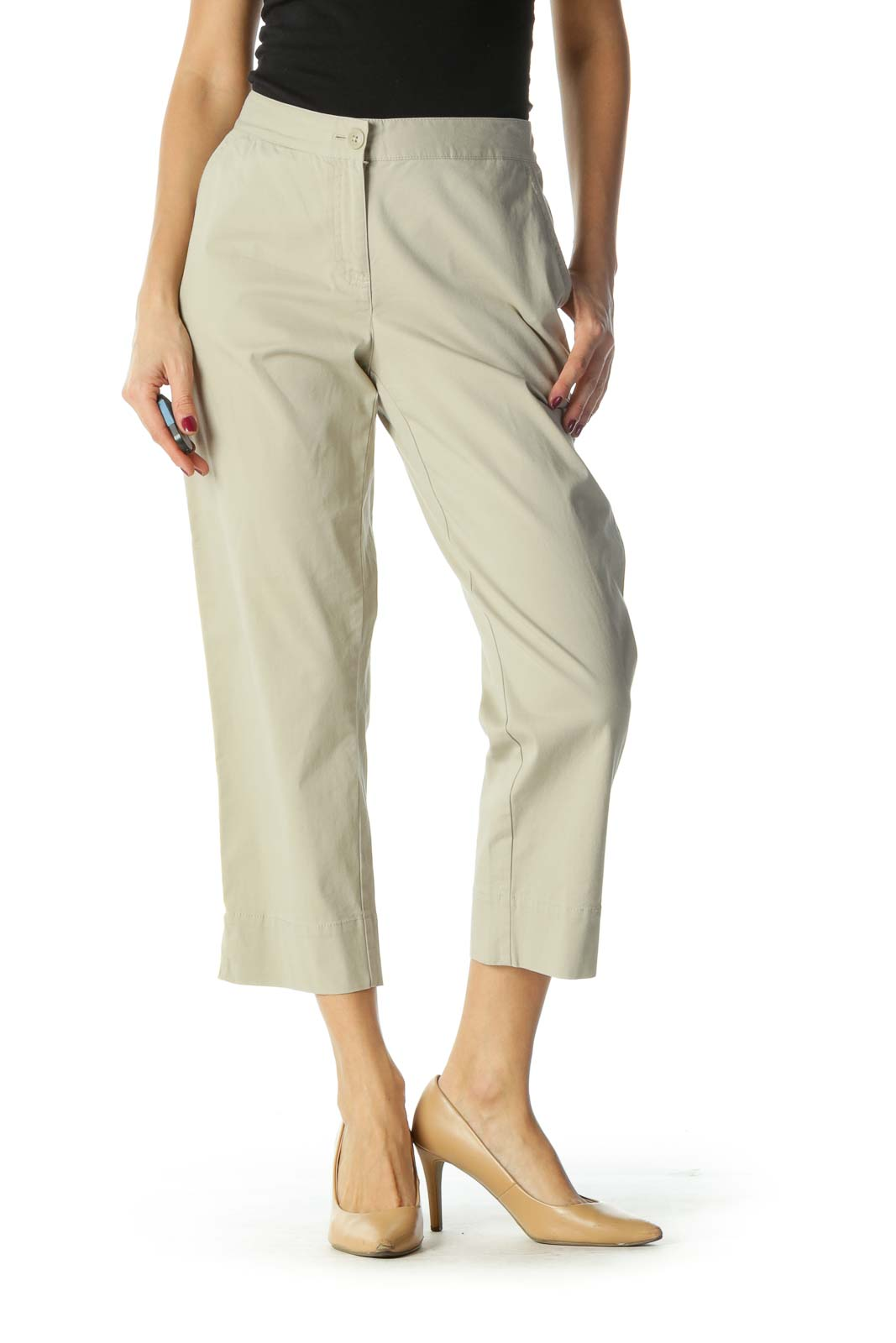 Brown Cropped Pants Front