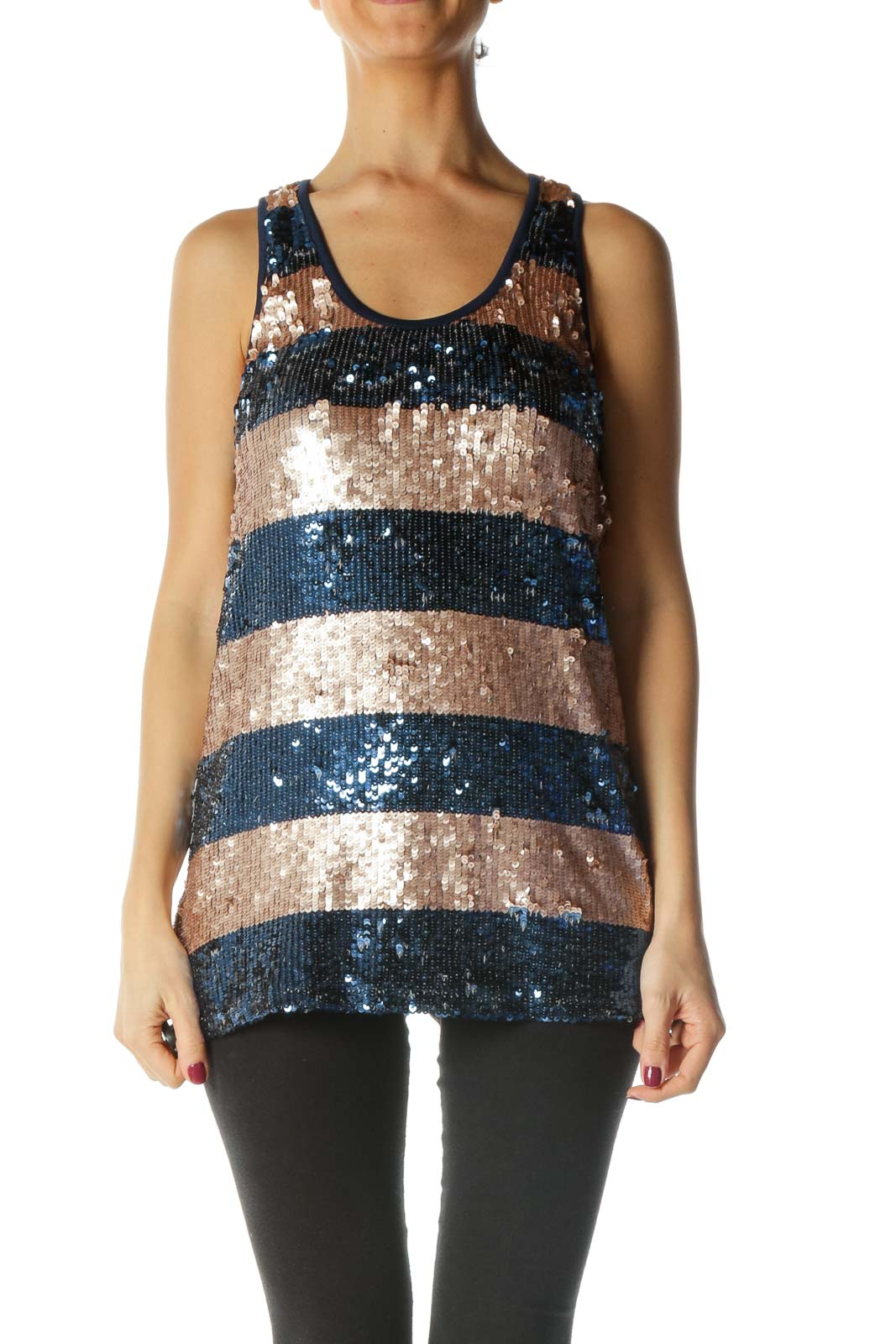 Blue and Brown Sequined Tank Top Front