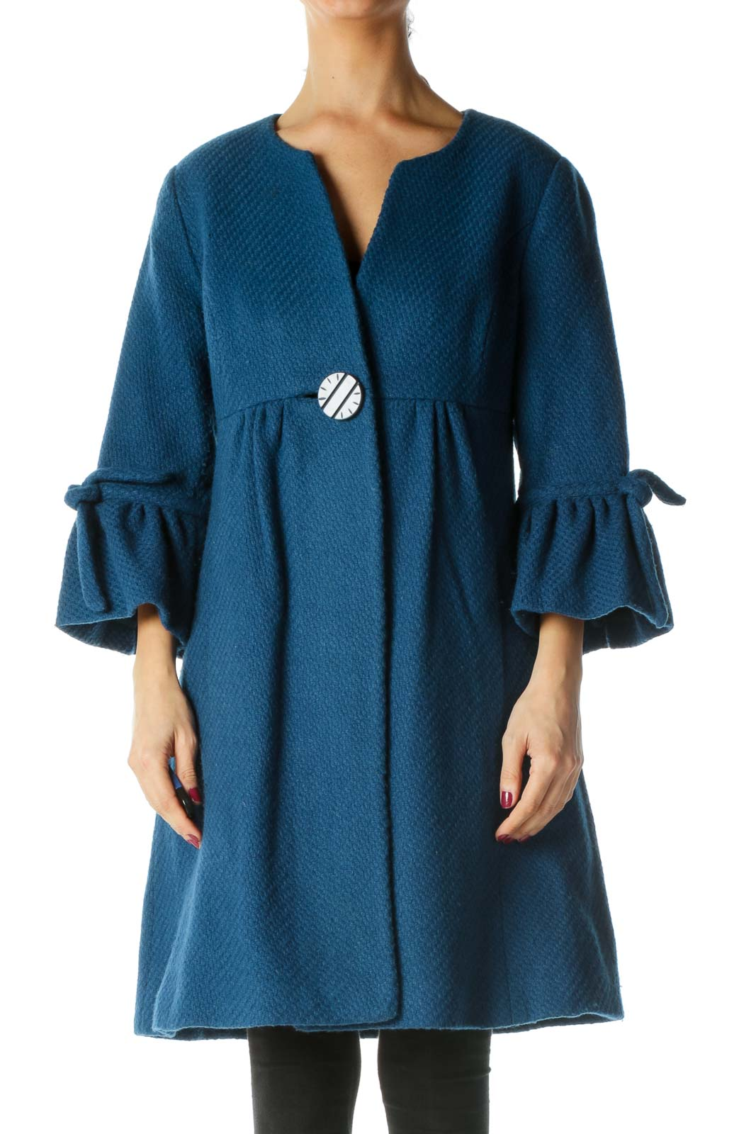 Blue Wool Cotton Round Neck Flared Sleeves Coat Front