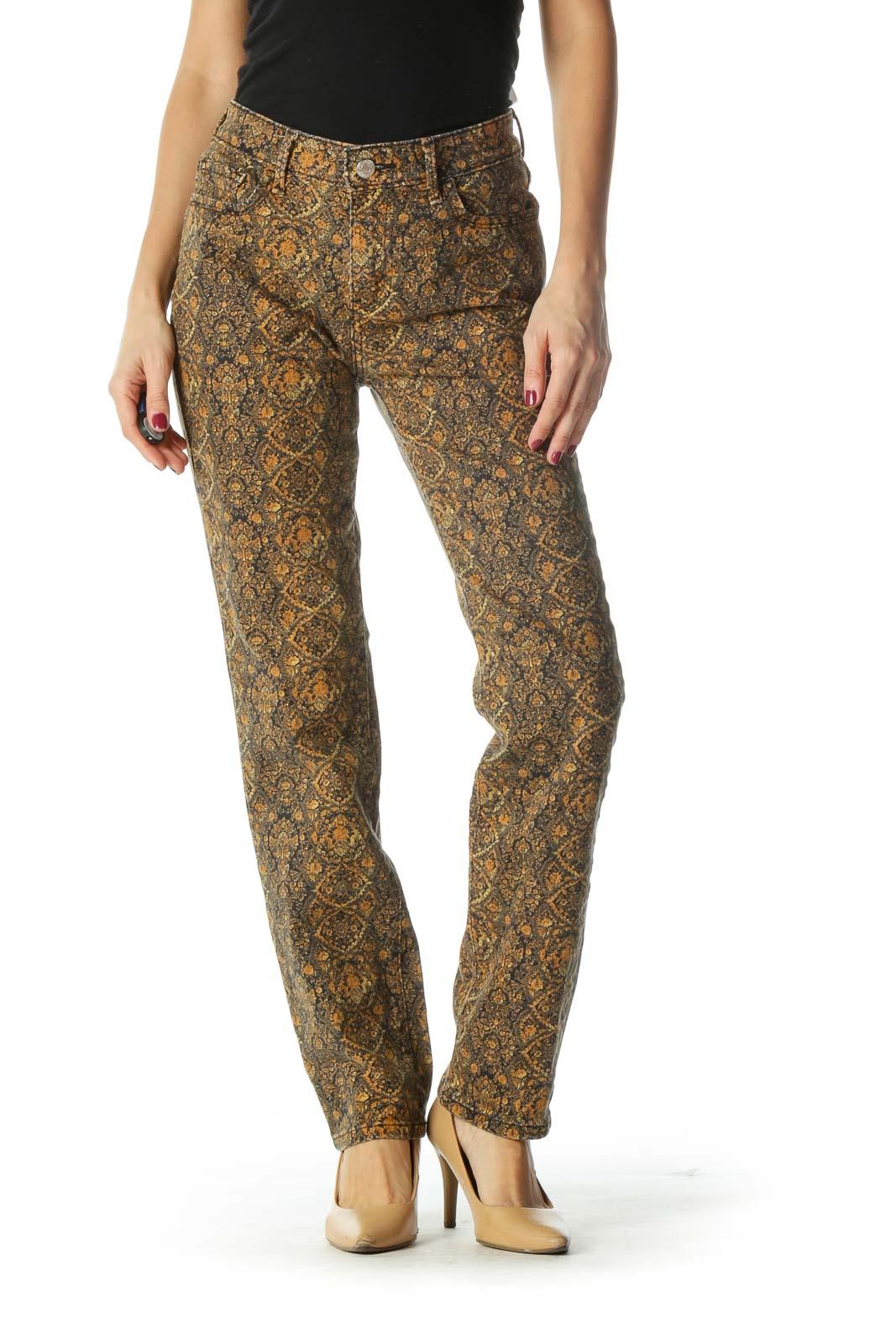Black Orange Print Skinny Pants Front
