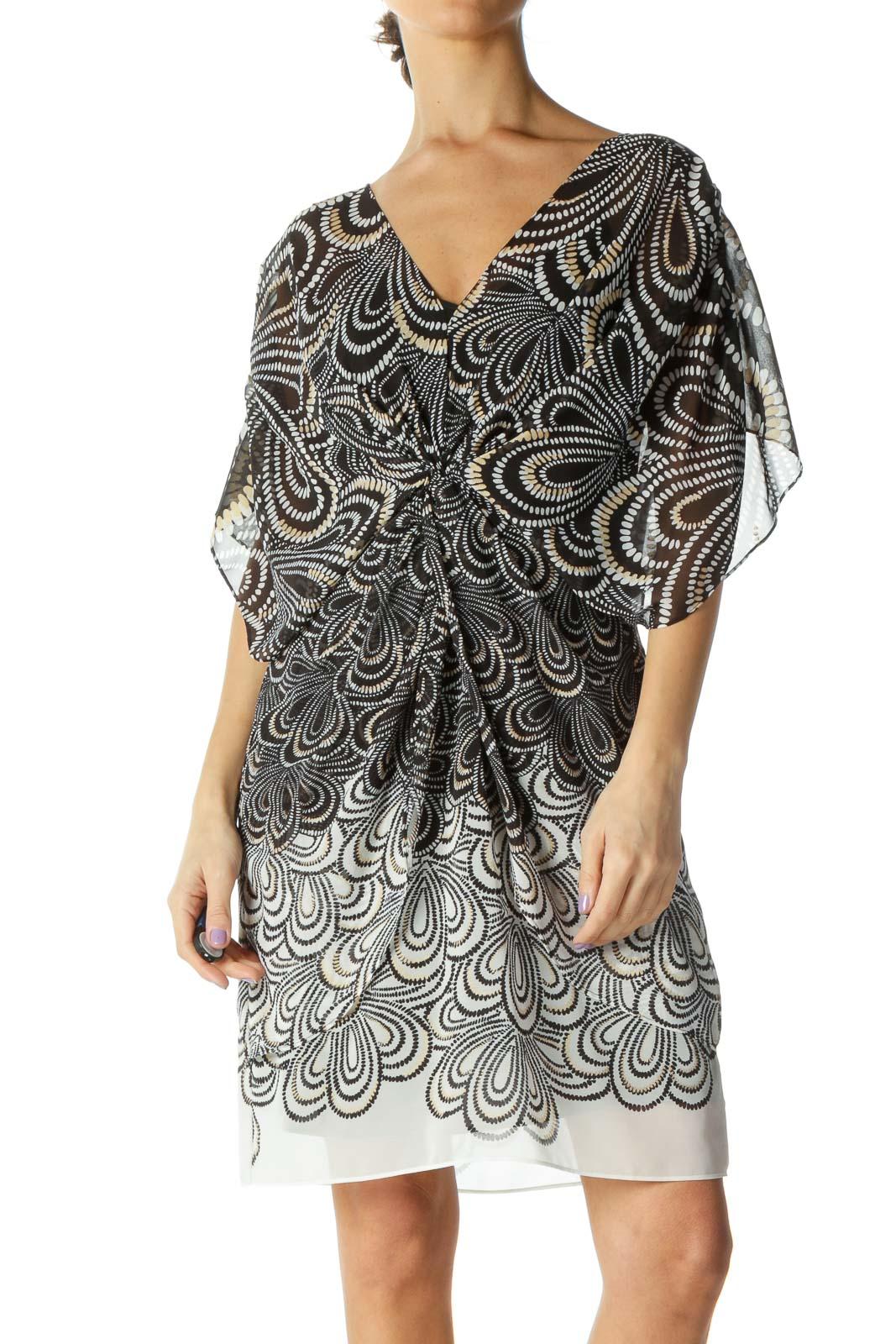 Black & White Pattern See Through Sun Dress Front