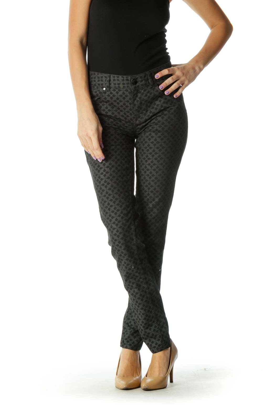 Black & Gray Pattern Printed Skinny Jeans Front