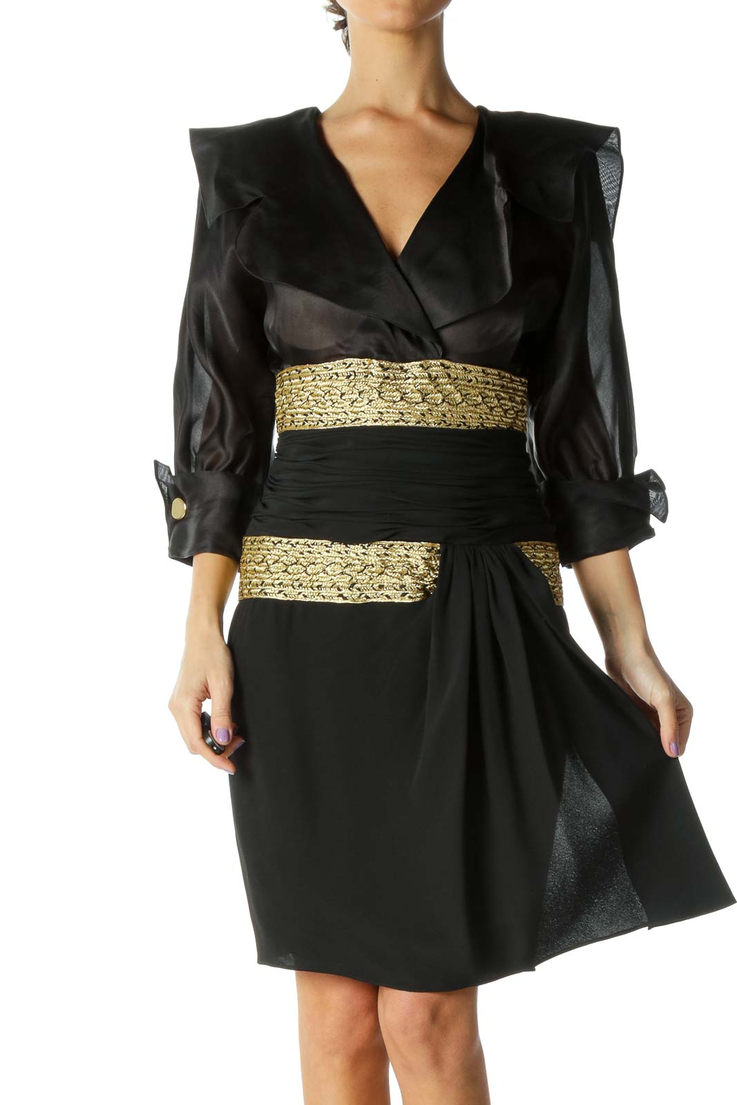 Black & Gold Puff Sleeve Evening Gown Front
