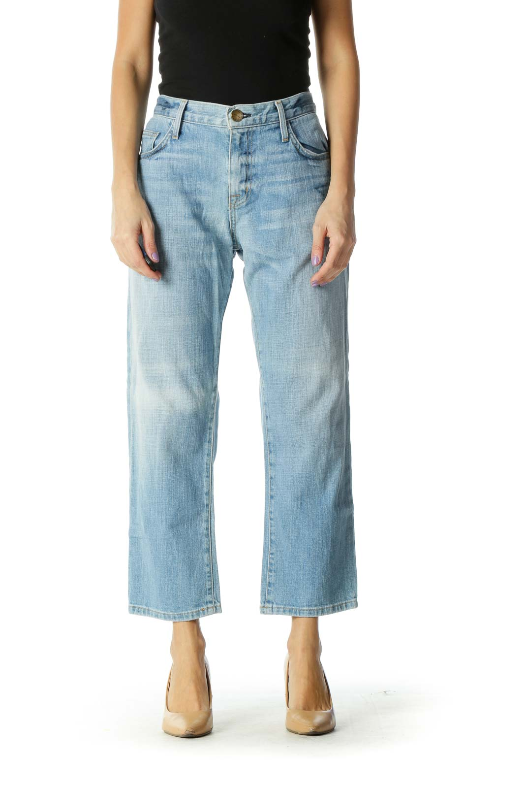 Light Blue Cropped Jeans Front