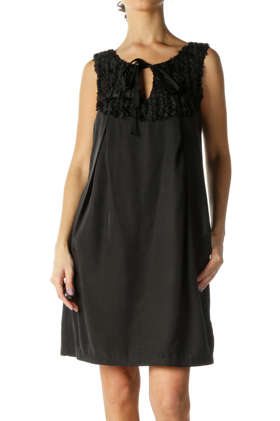 Black Ruffled Detail Dress Front