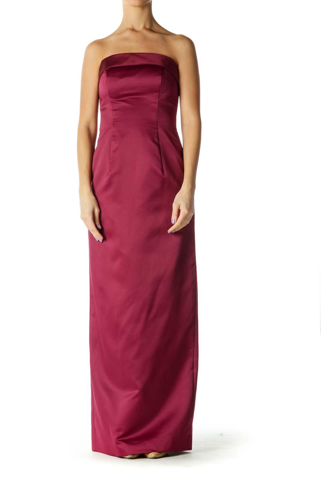 Burgundy Strapless Dress Front