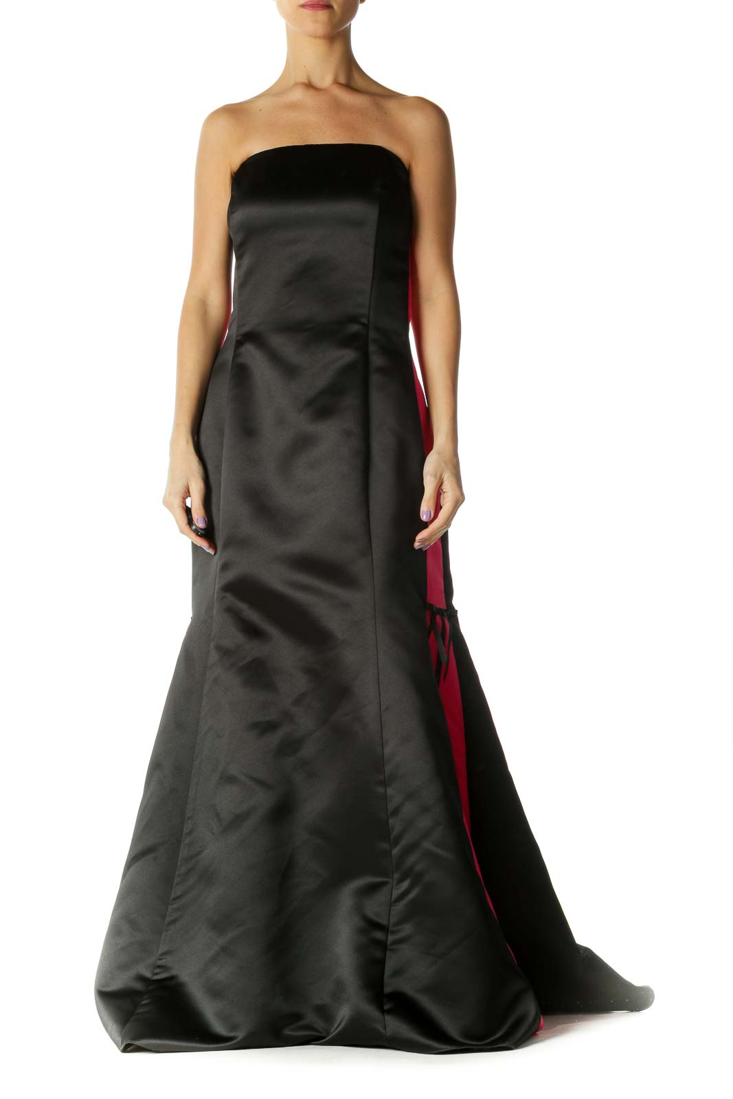 Black Pink Strapless Evening Gown Front