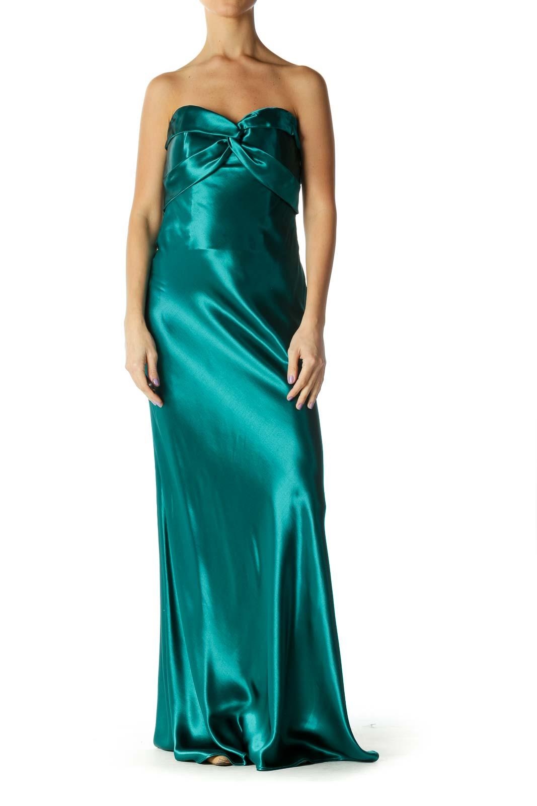 Emerald Strapless Shimmer Evening Dress Front