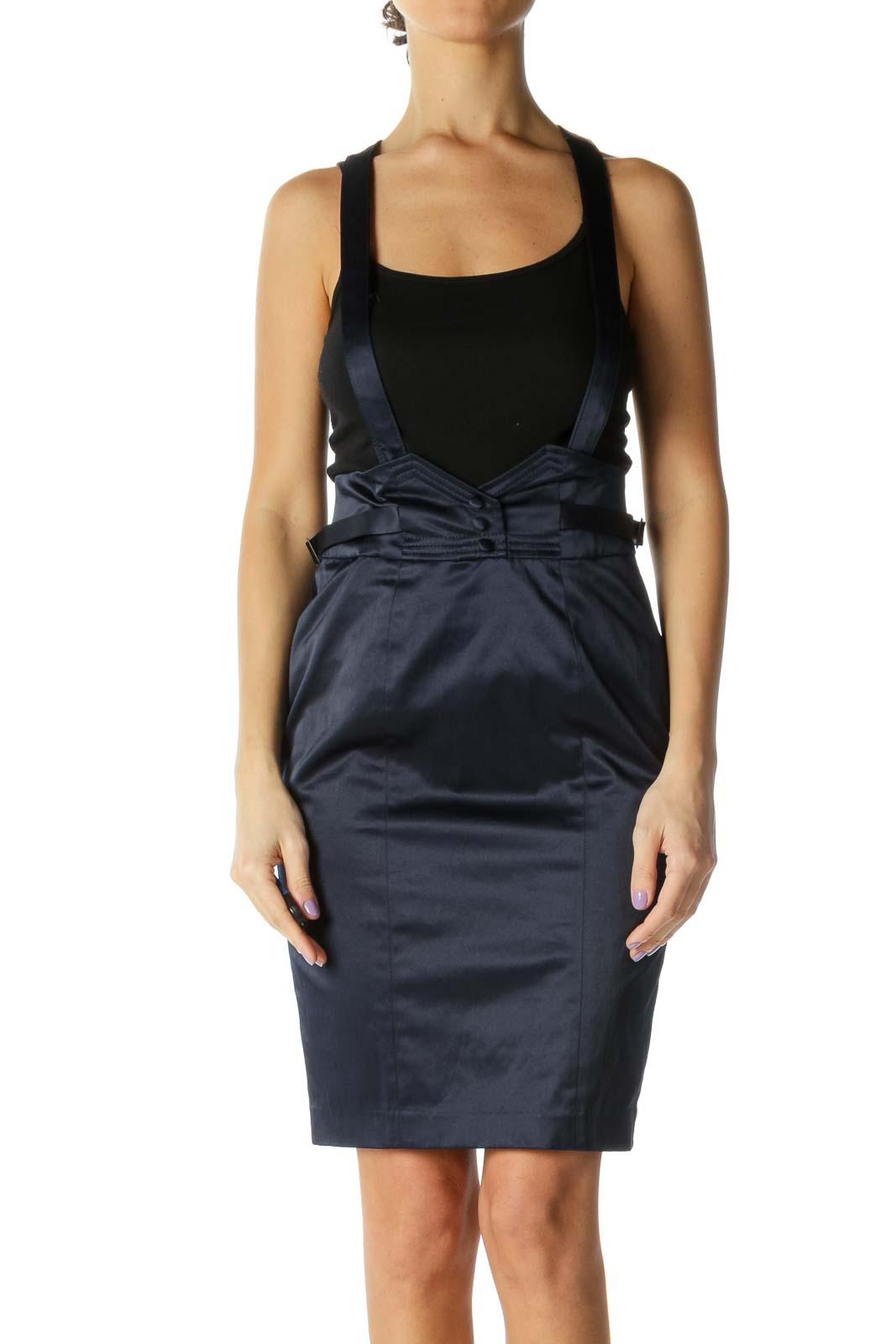 Navy Satin Overall Skirt Front