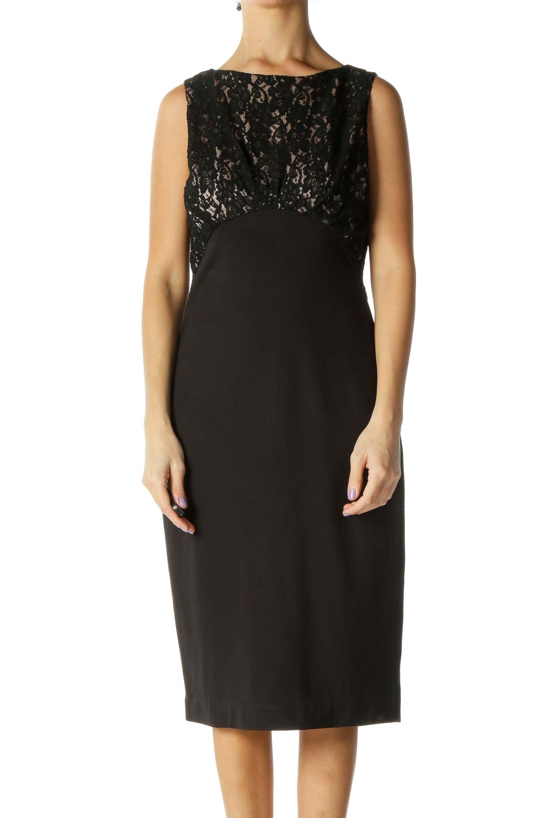 Black Beige Lace Work Dress Front