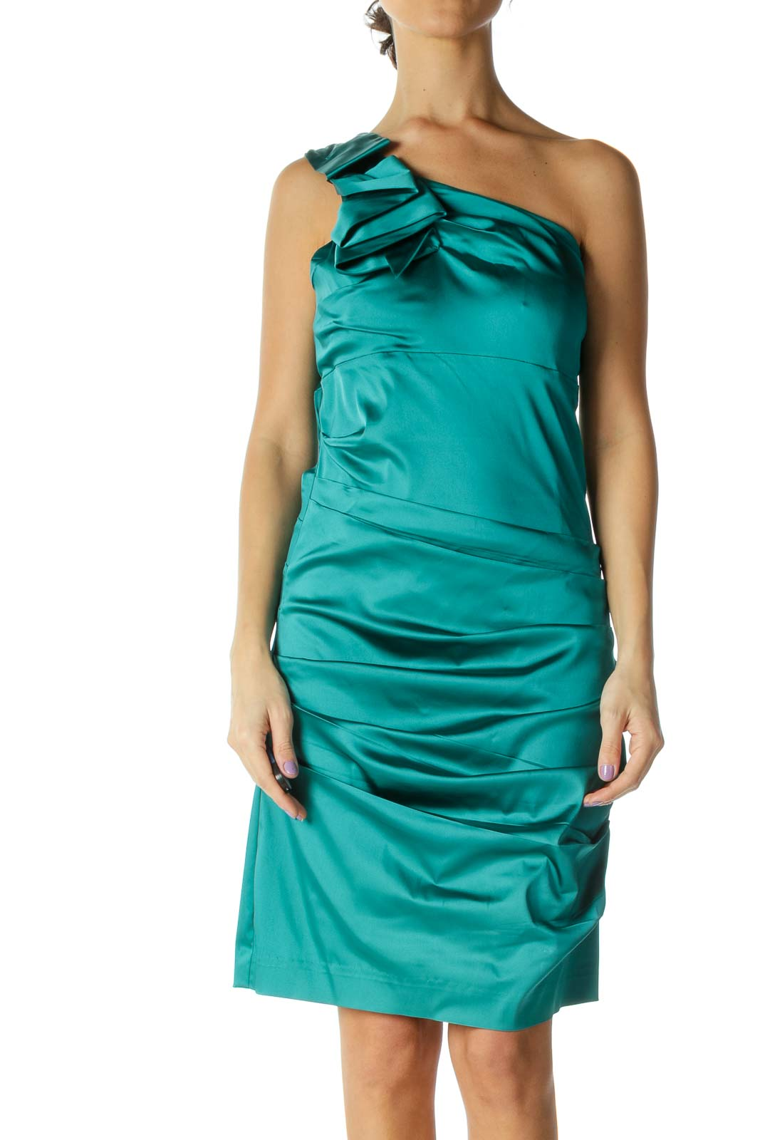 Turquoise One-Shoulder Ruffled Cocktail Dress Front