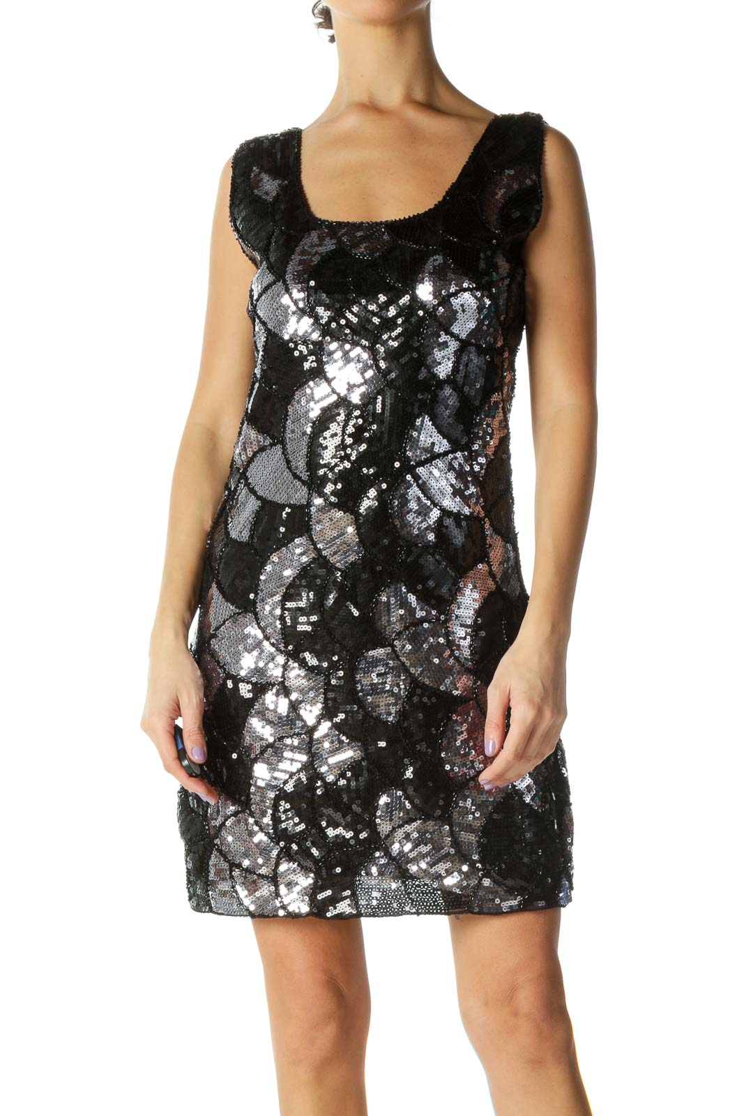 Black Sequined Dress Front