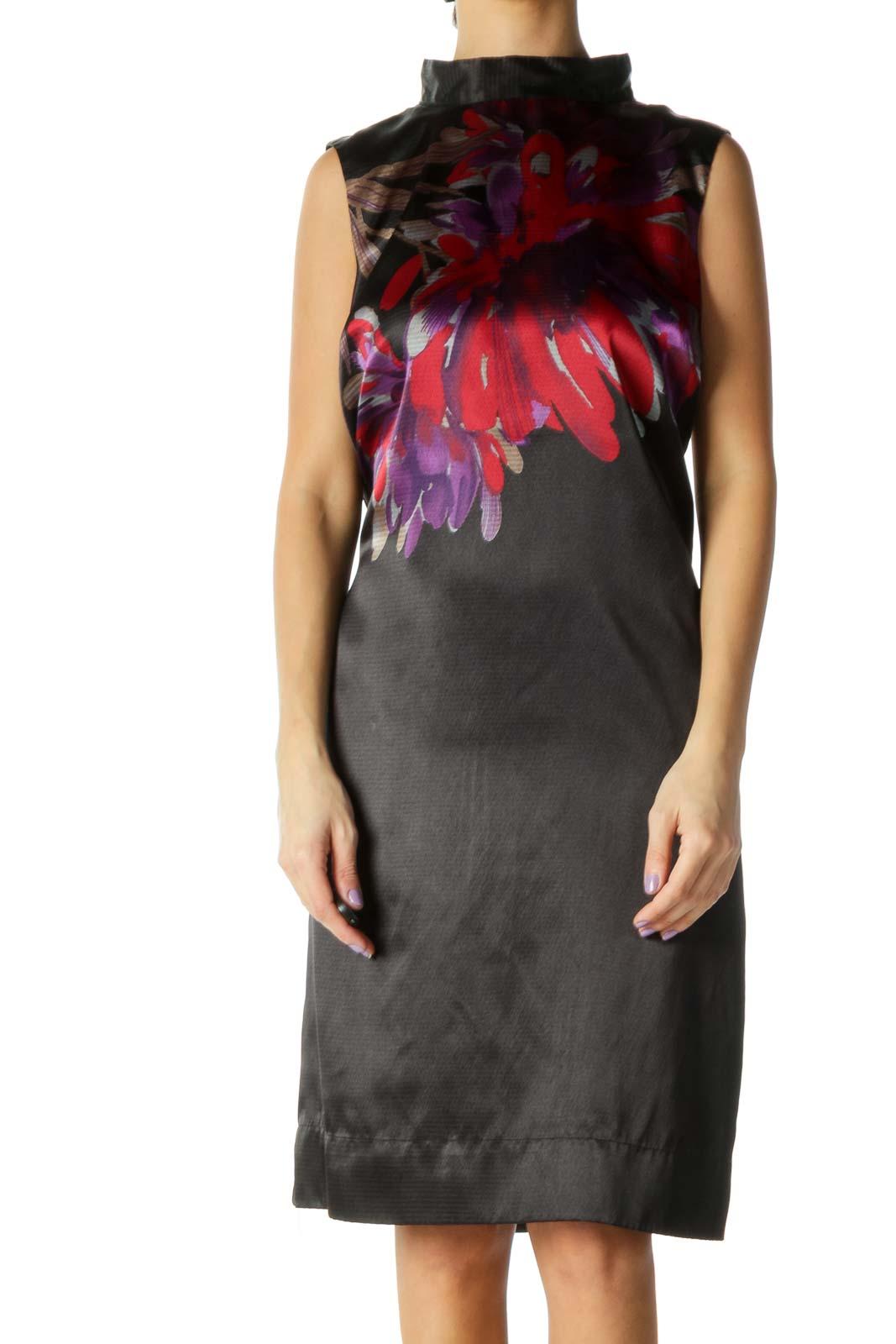 Black Floral High Neck Shift Dress Front