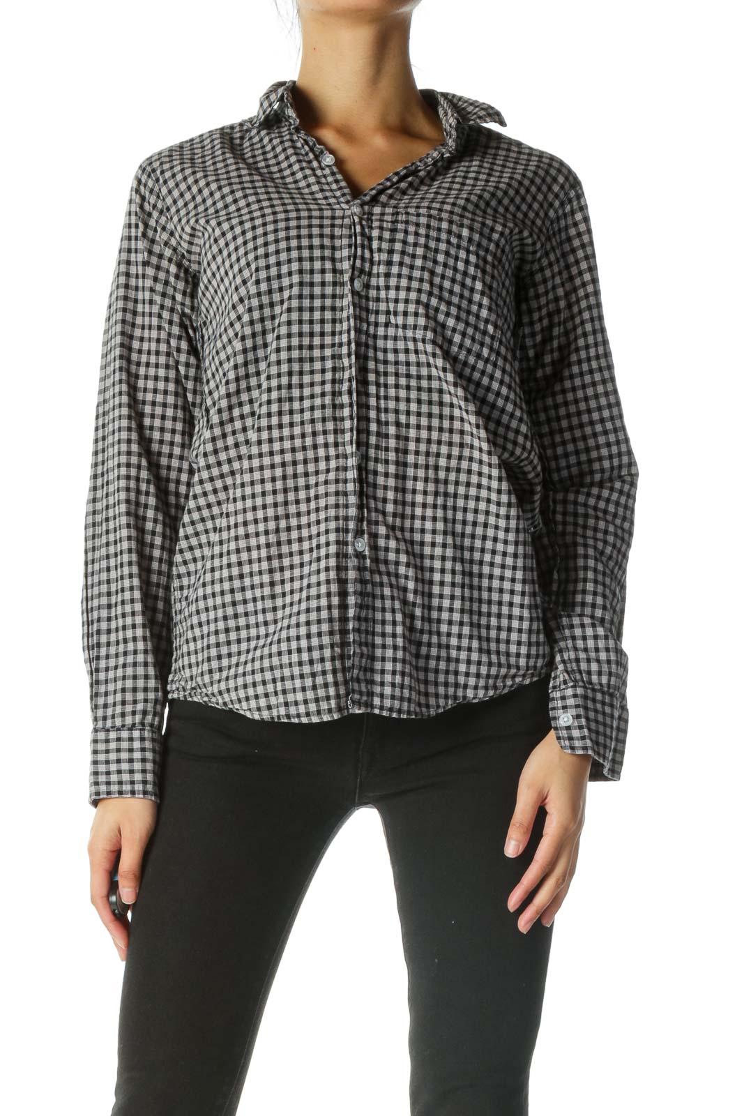 Black Gray 100% Cotton Shirt Front