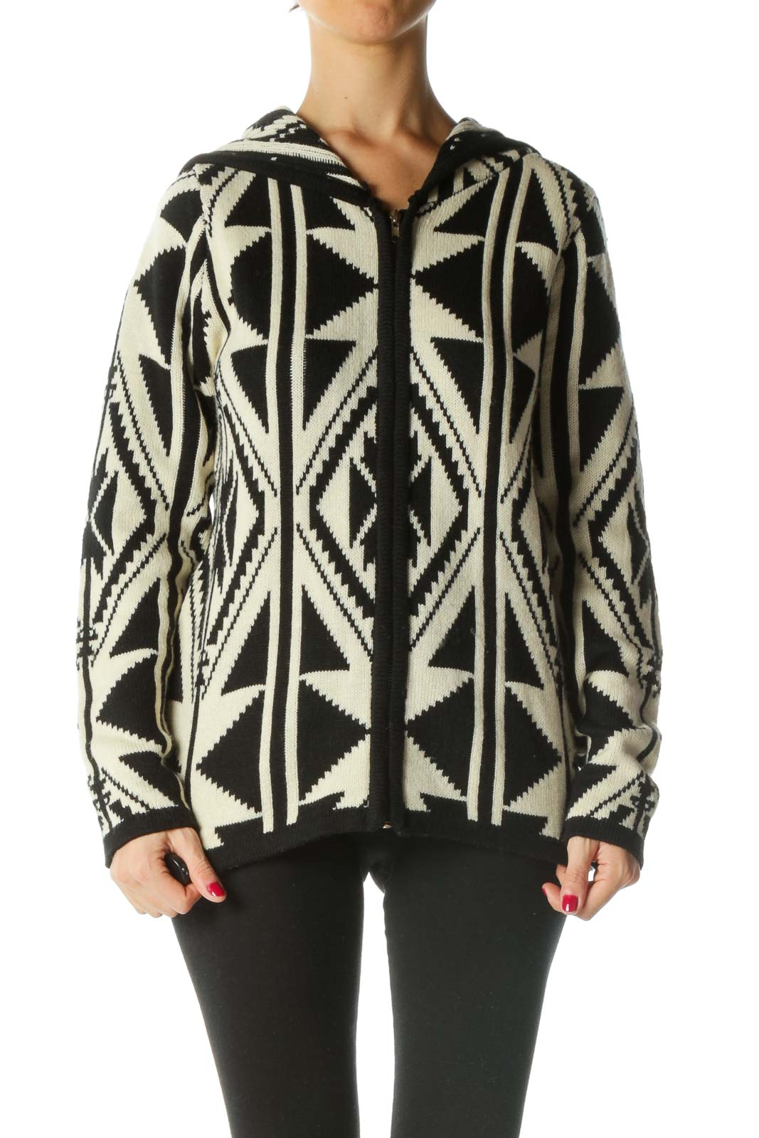 Black Cream Hooded Knitted Pattern Zippered Cardigan Front