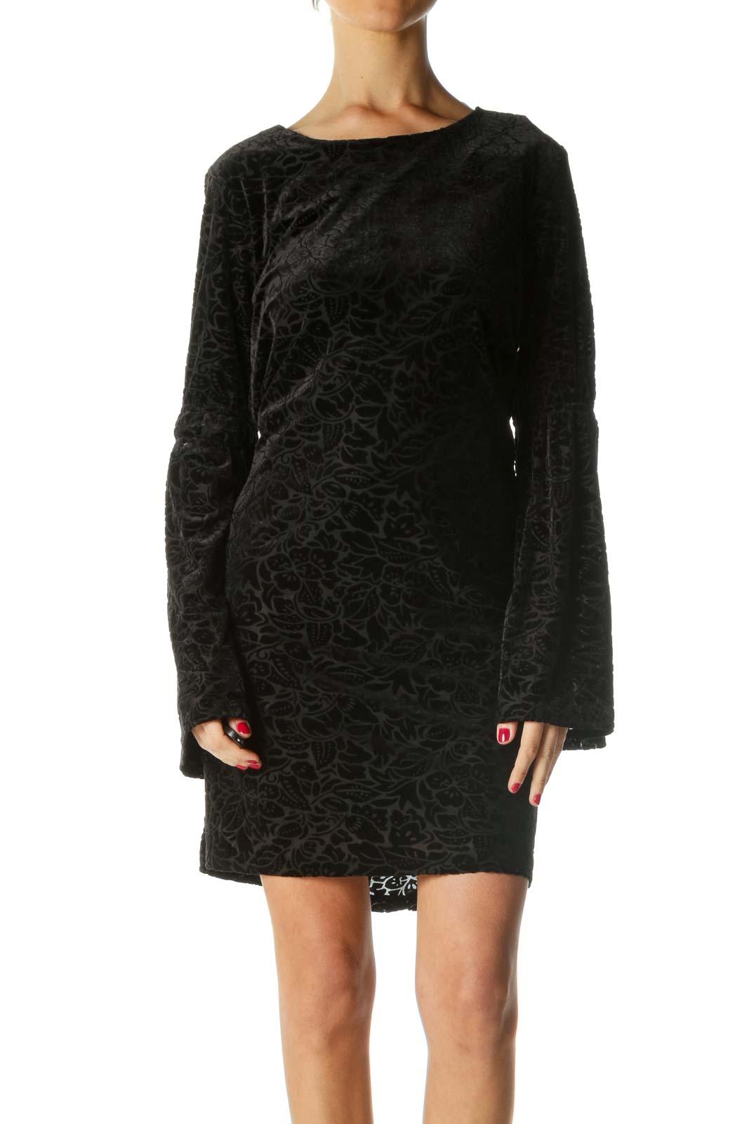Black Velvet Bell-Sleeve Shift Dress Front