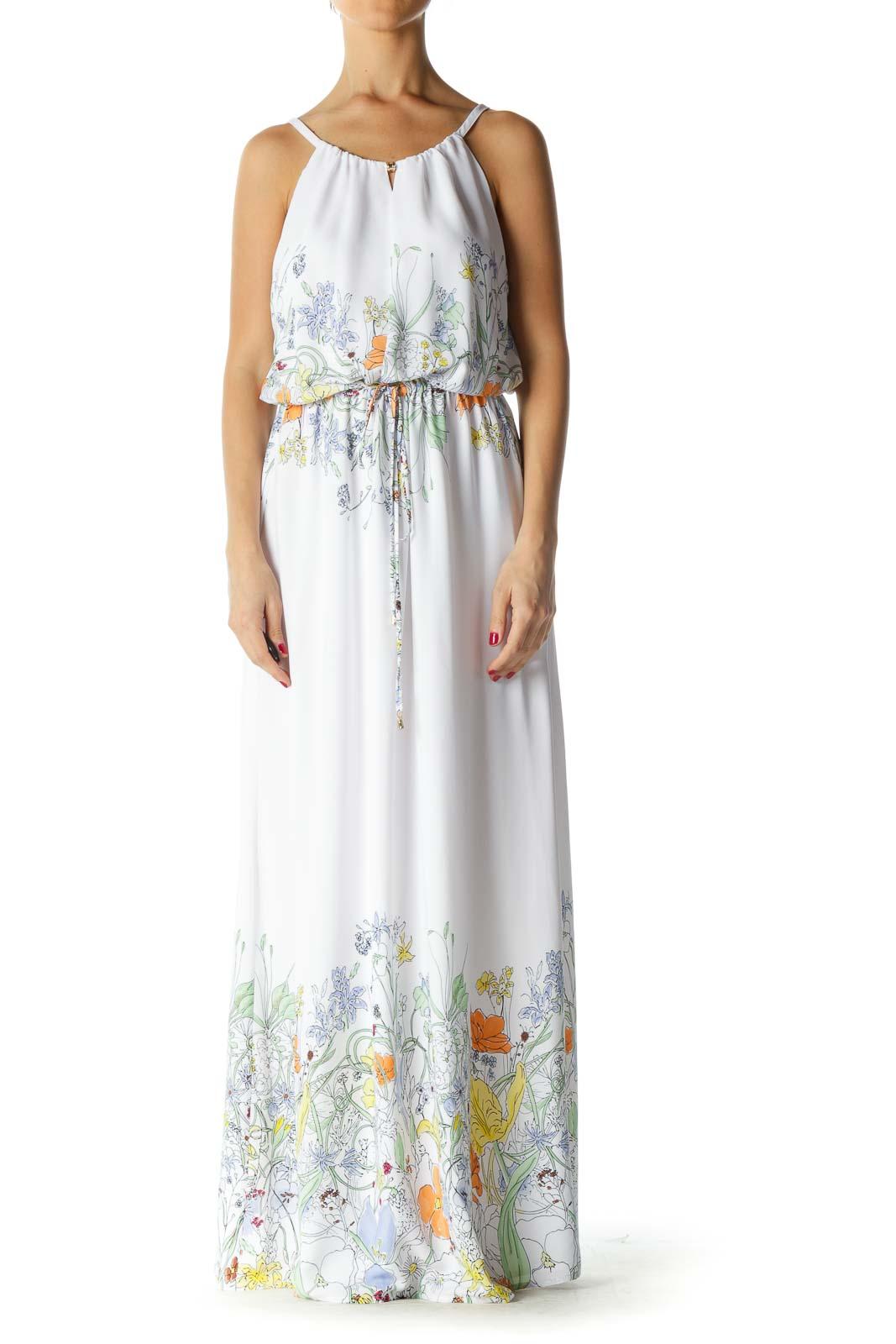White Multicolor Floral Print Maxi Dress Front