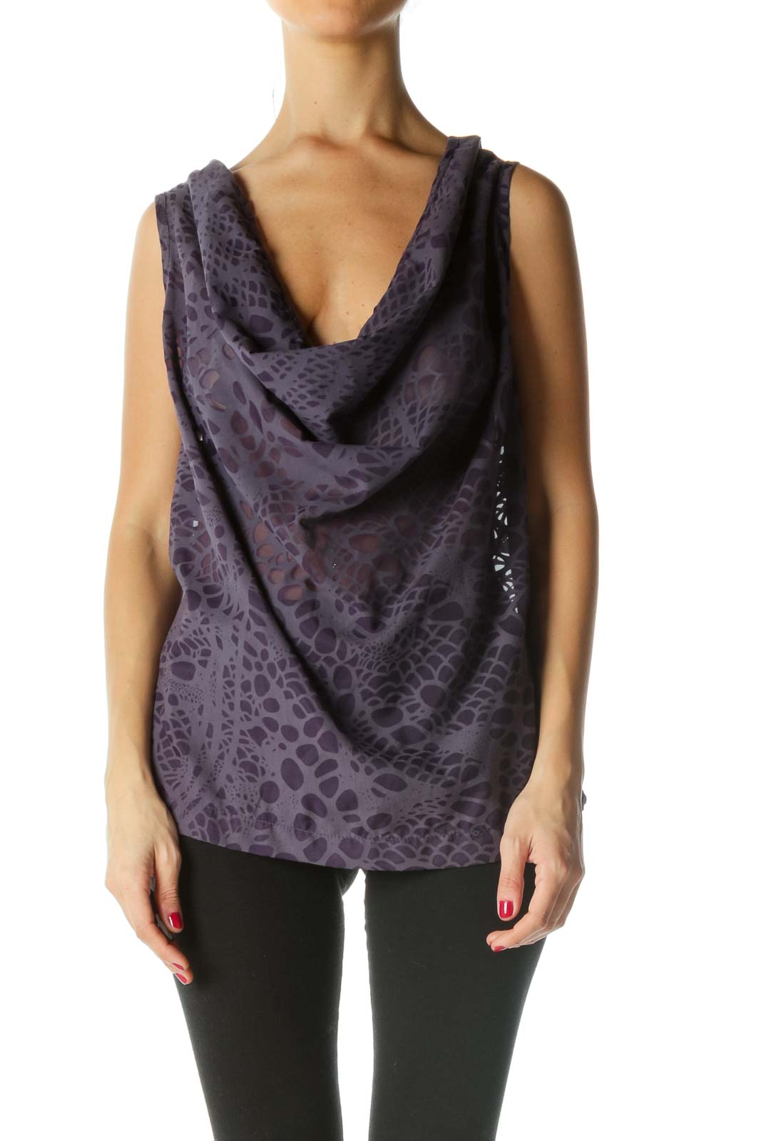 Purple See-Through Pattern Cowl Neck Top Front