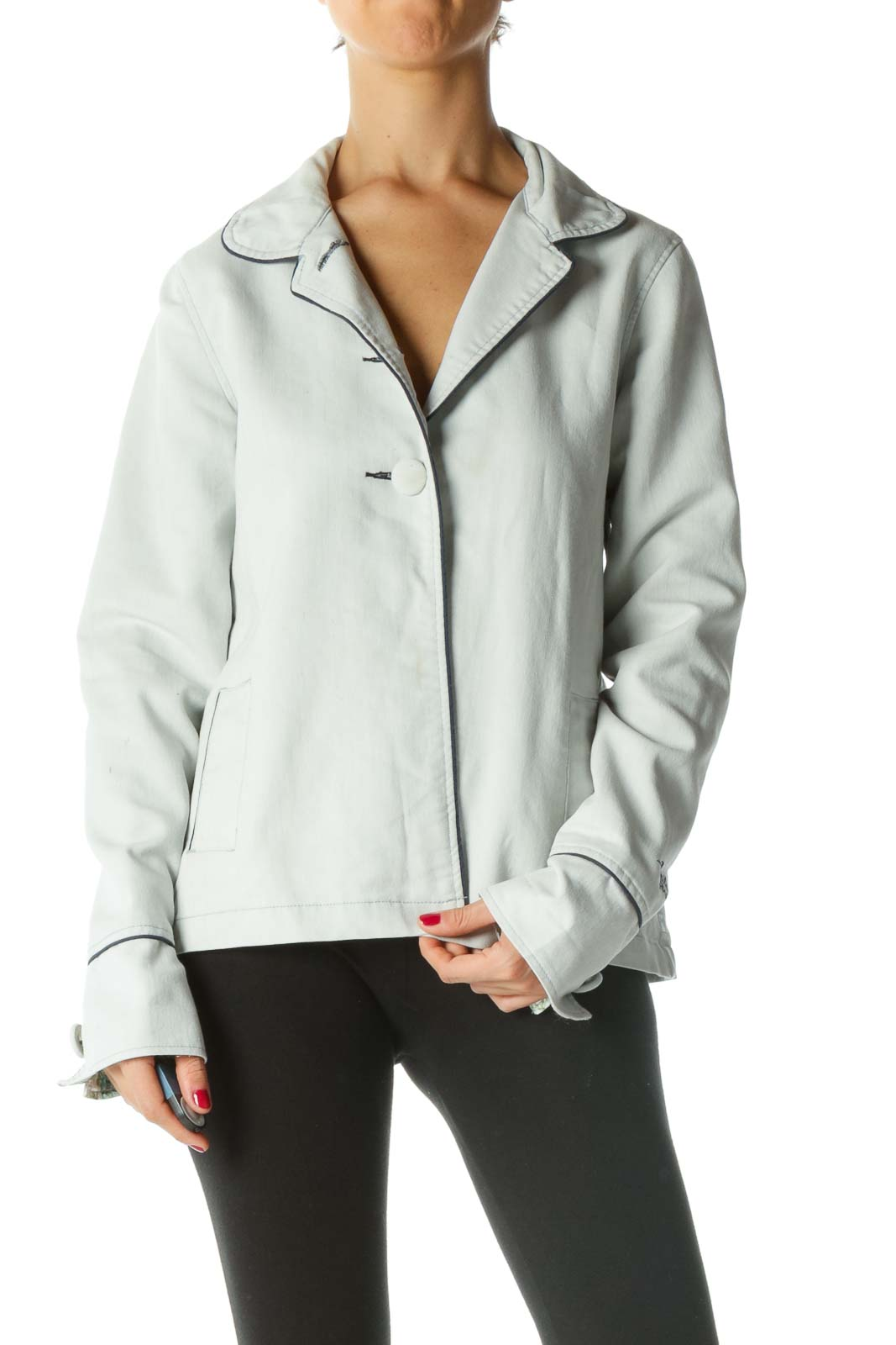 Blue Contrasting Pipeline Textured Jacket Front
