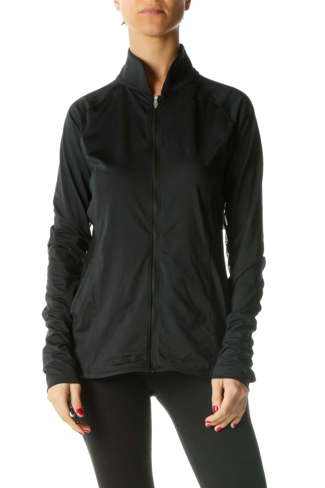 Black Zippered Sheer Detail Active Jacket Front