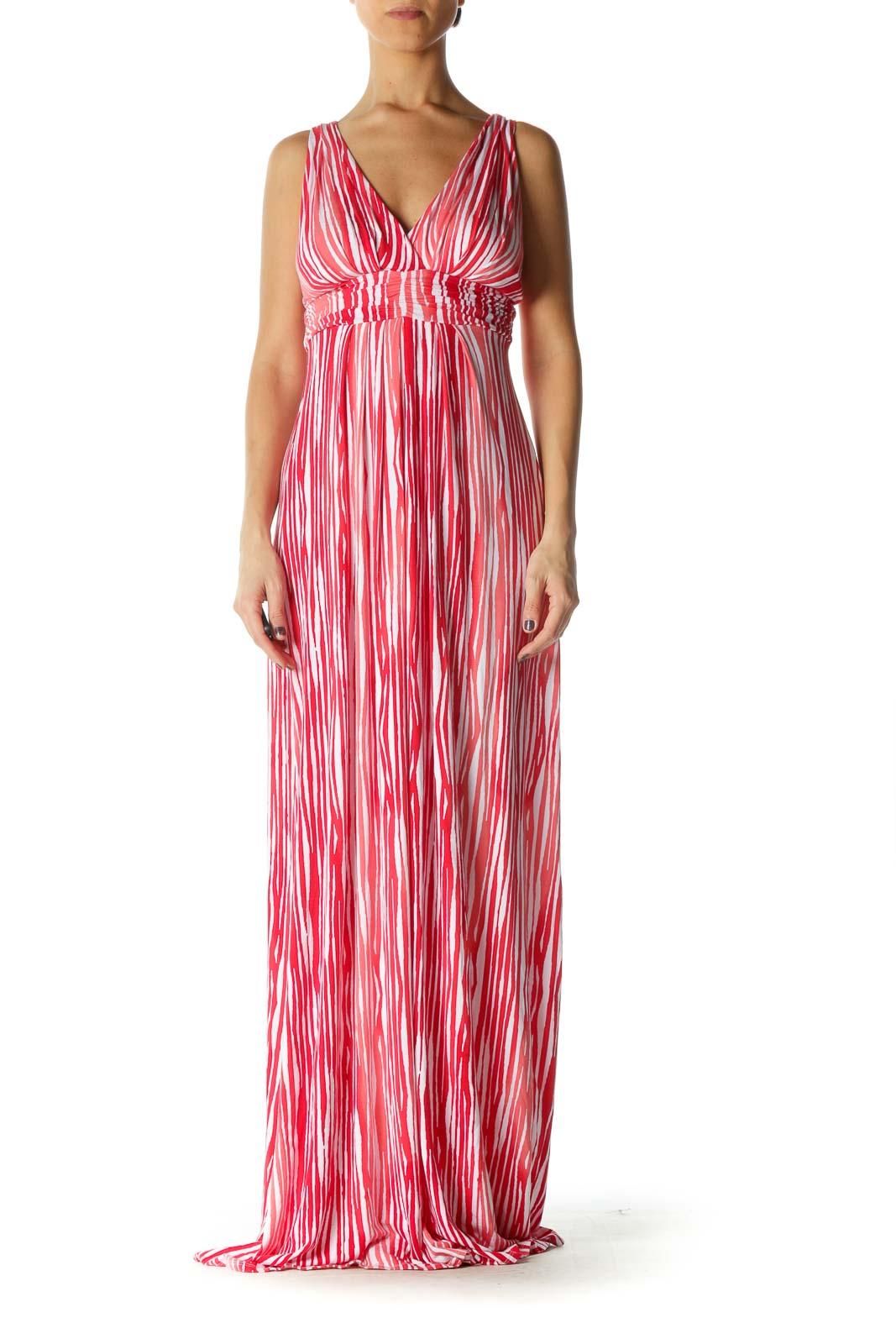 Red Stripe V Neck Column Dress Front