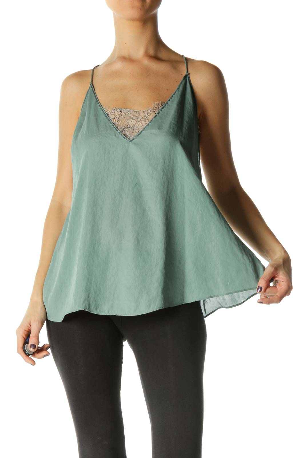 Green Flared Tank Top w/ White Lace Liner Front