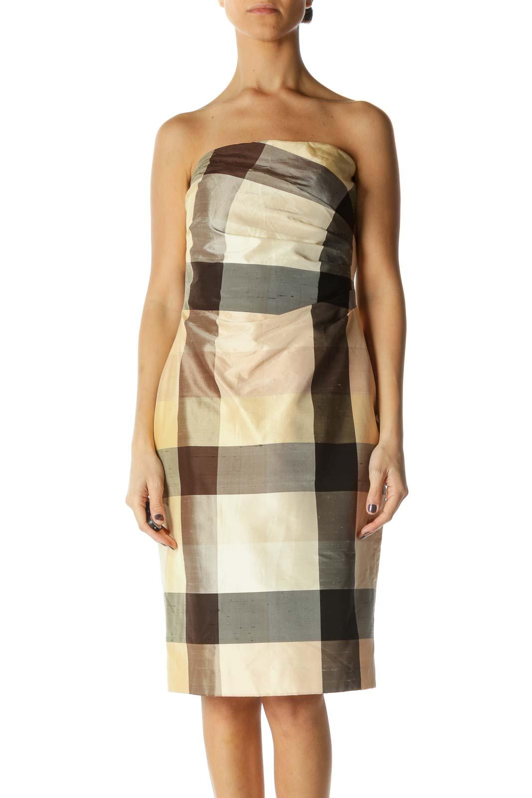 Beige Brown Plaid Strapless Dress Front