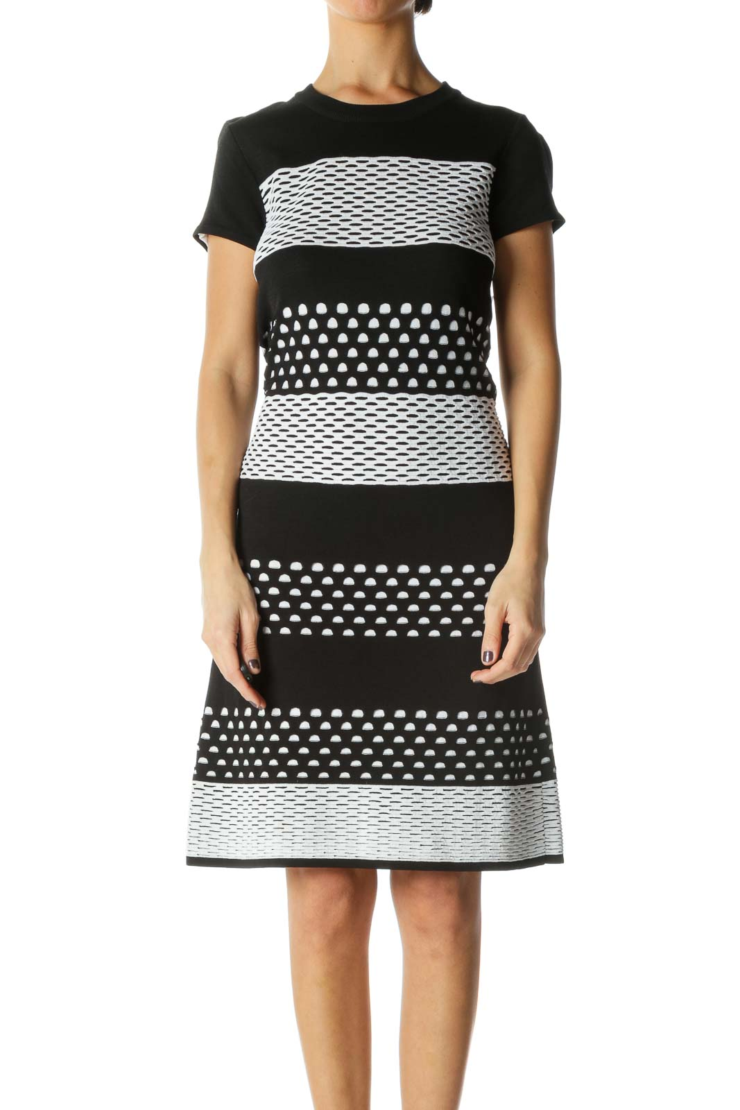 Black and White Knit Dress [S] Front