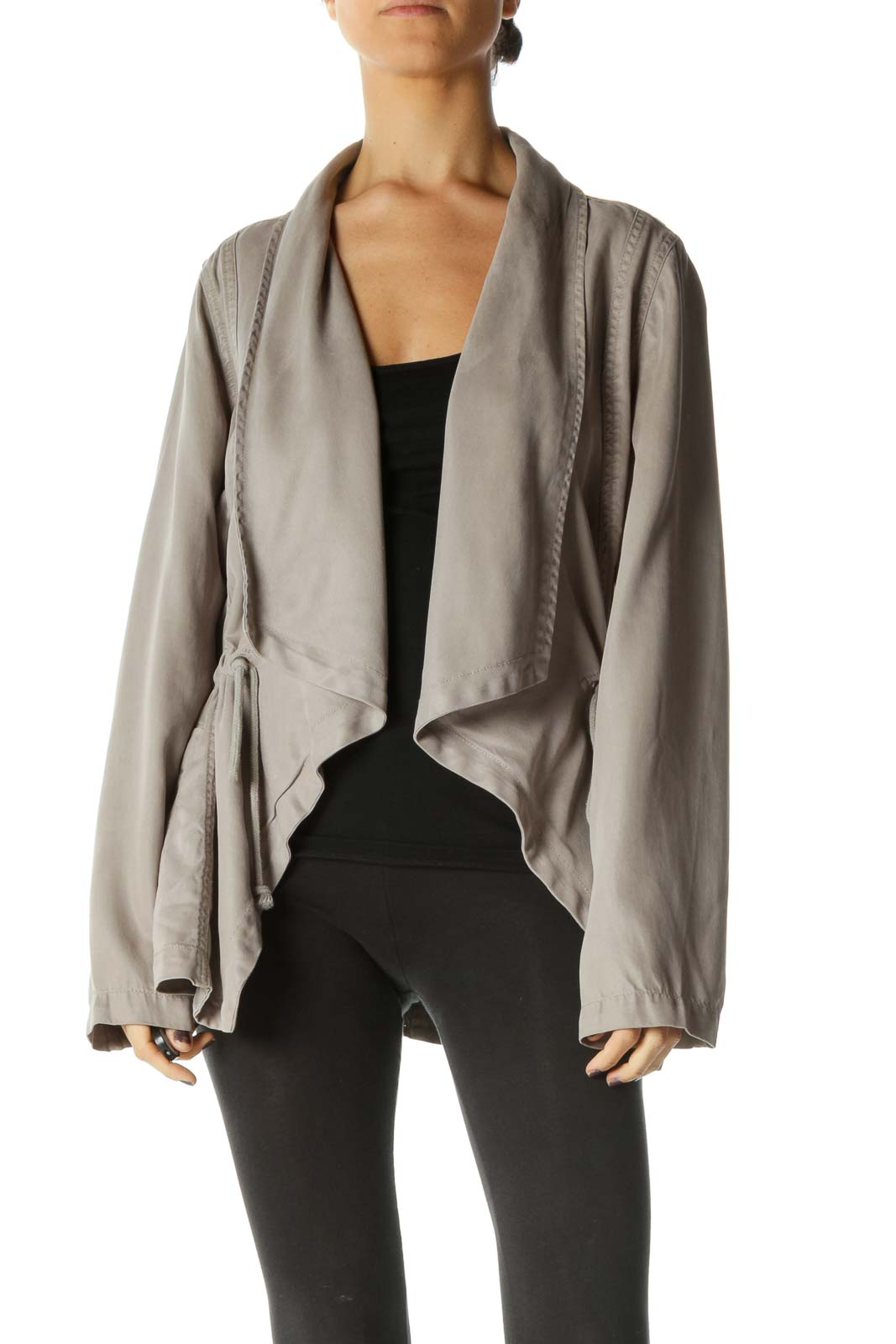 Gray Long Sleeve Parka Jacket Front