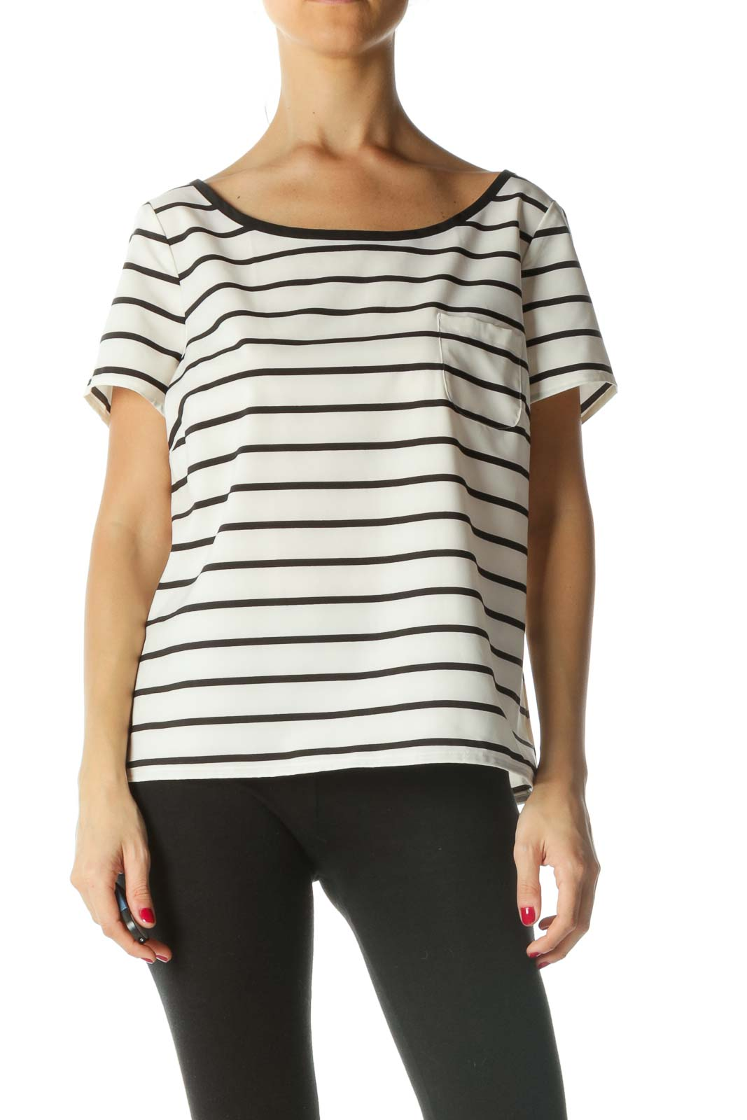 Black Cream Striped Short-Sleeve Top Front