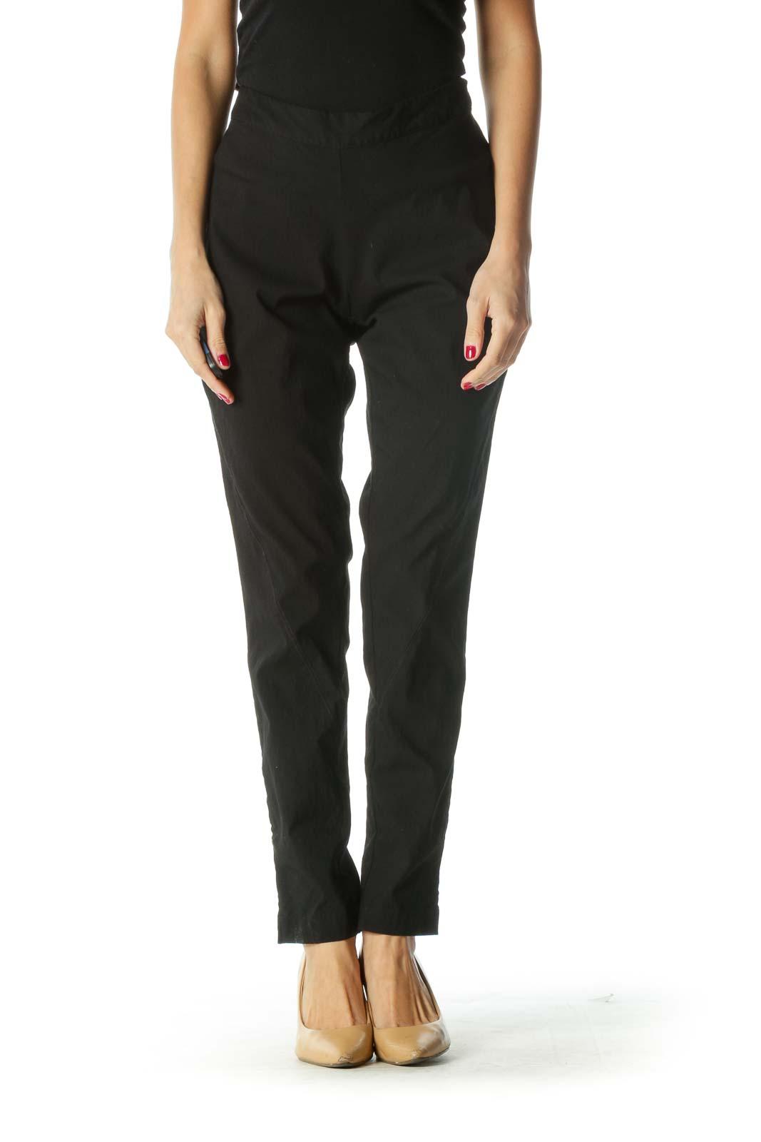 Black Straight Leg Pants Front