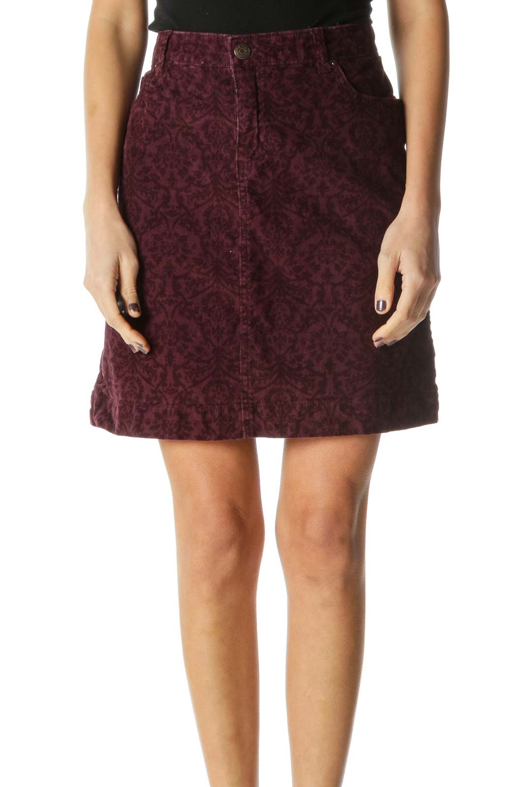 Red Casual Flared Skirts Front