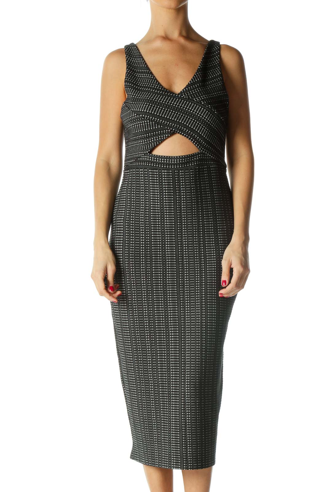 Black and White Print Cut-Out Sheath Dress Front