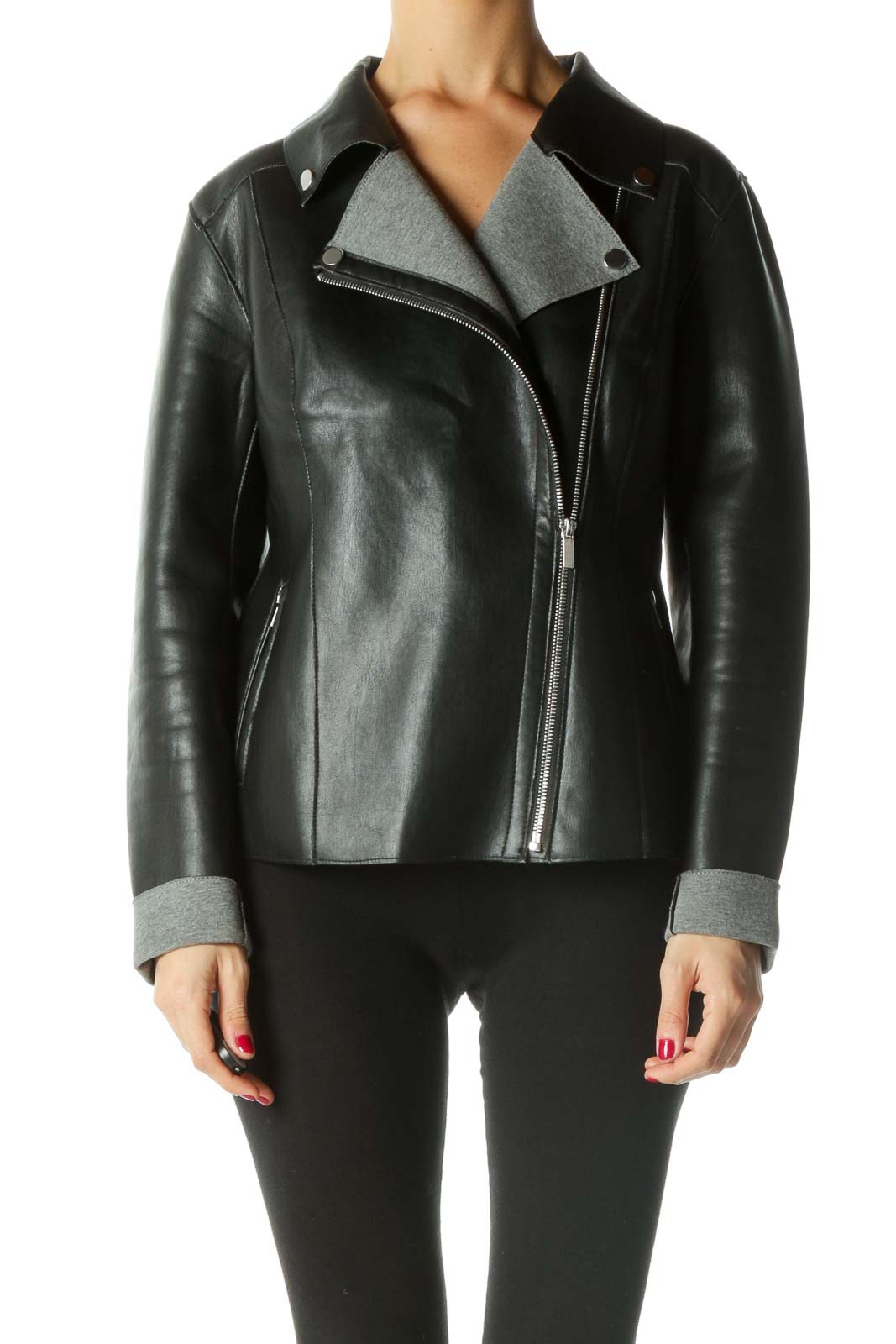 Black Faux-Leather Moto Jacket Front