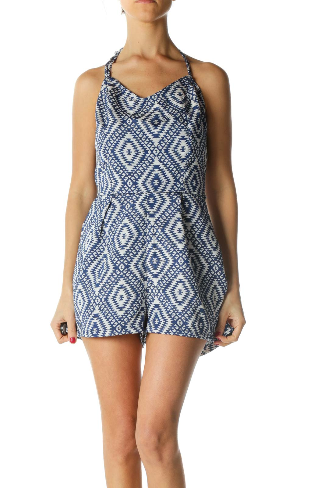Blue and Silver Tribal Print Halter Romper Front