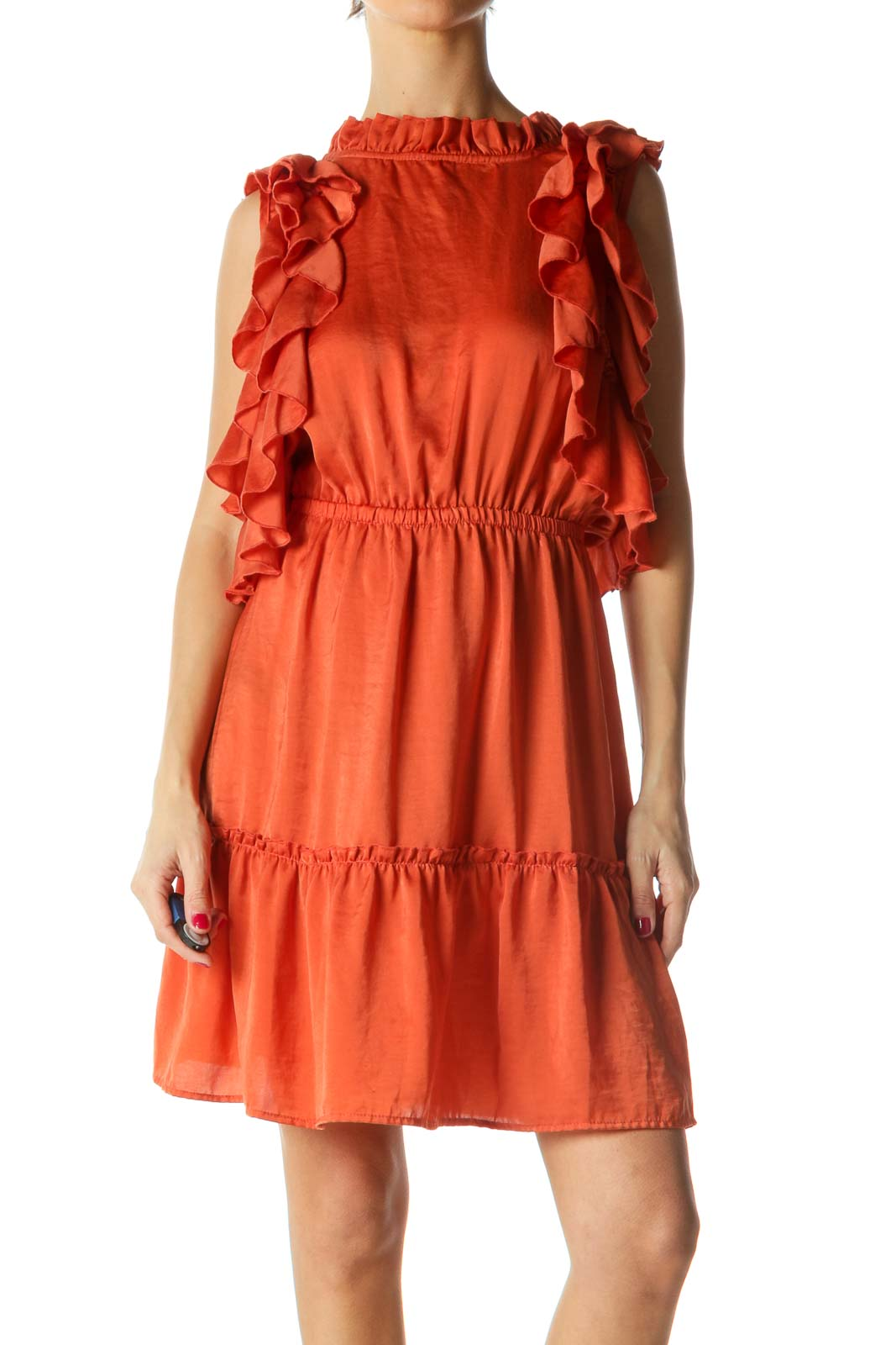 Orange Ruffled Dress Front