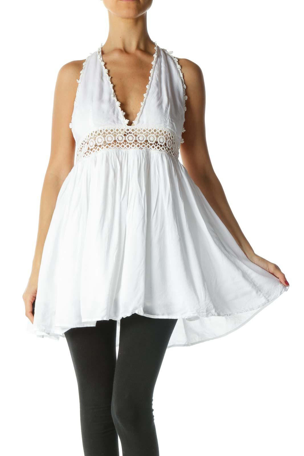 White Cream Crochet Knit Halter Neckline Top Front