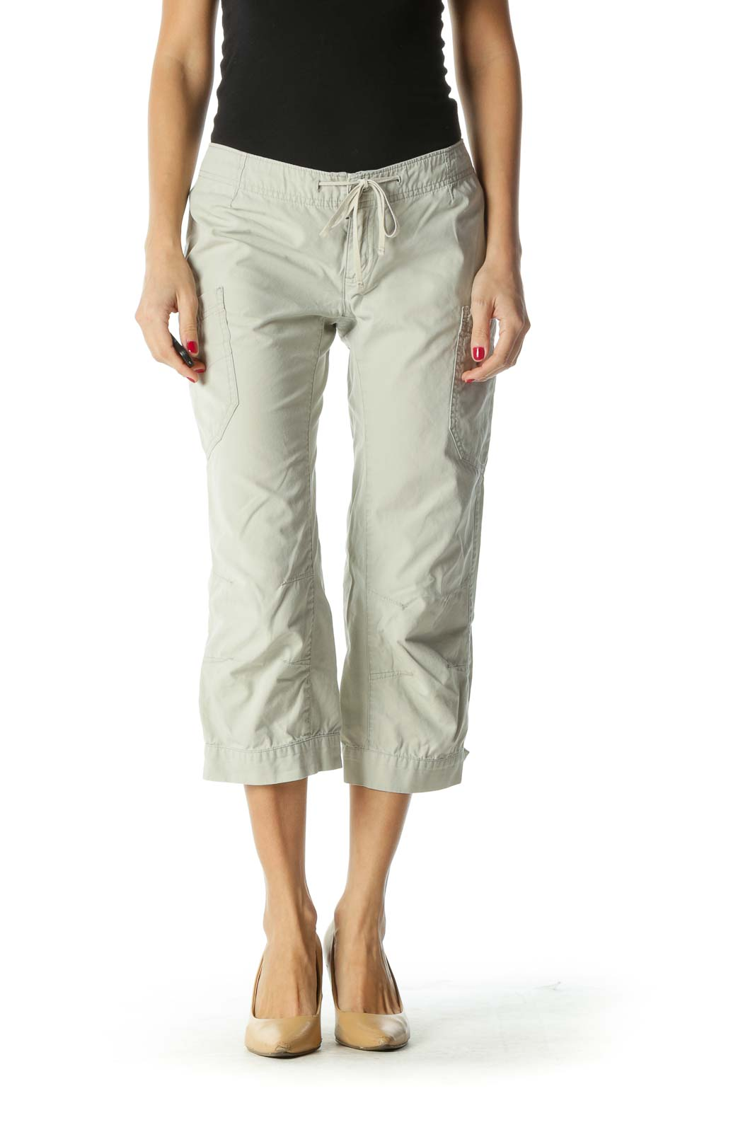 Beige 100% Organic Cotton Capri Pants Front