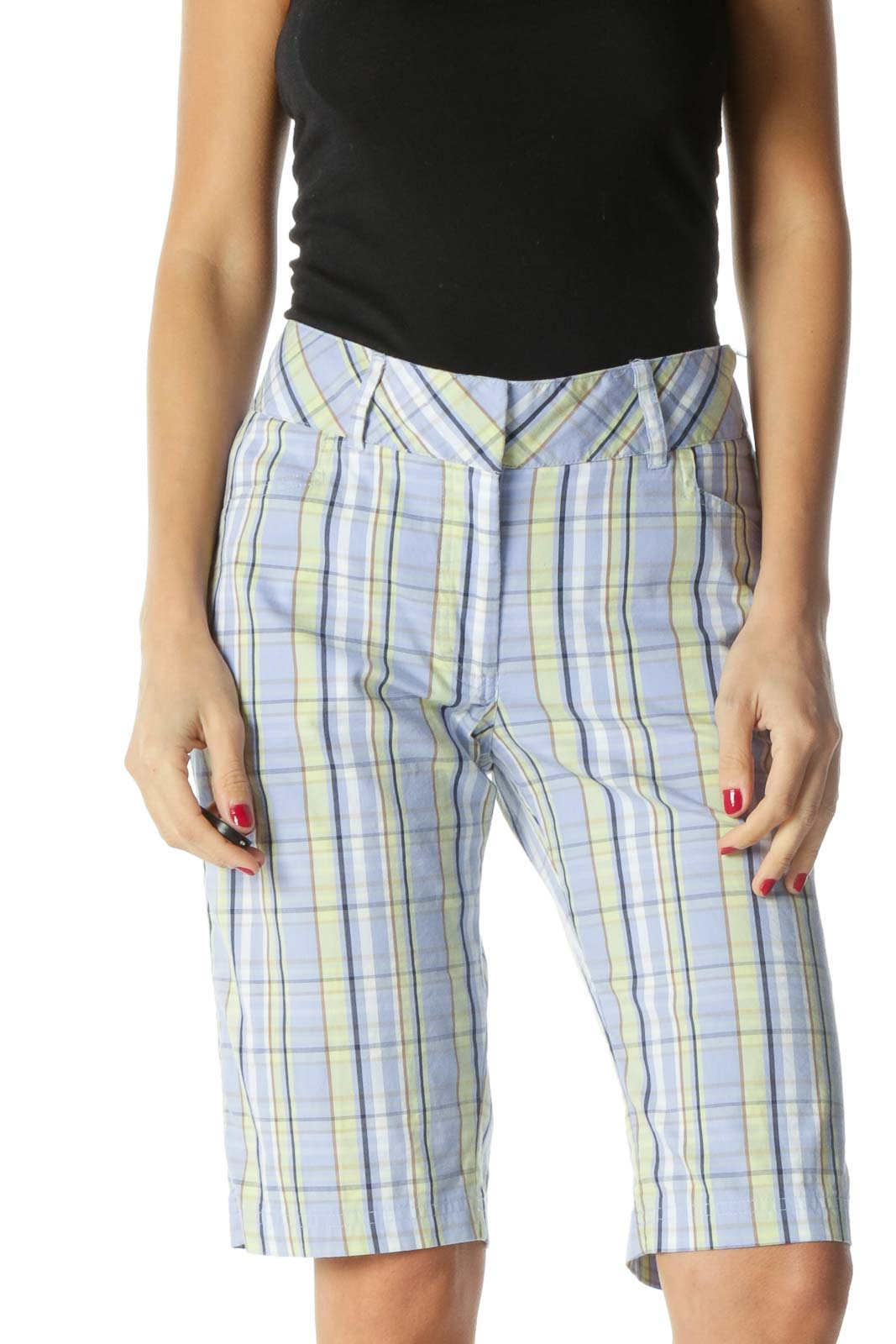 Blue Brown Yellow Plaid Golf Shorts Front