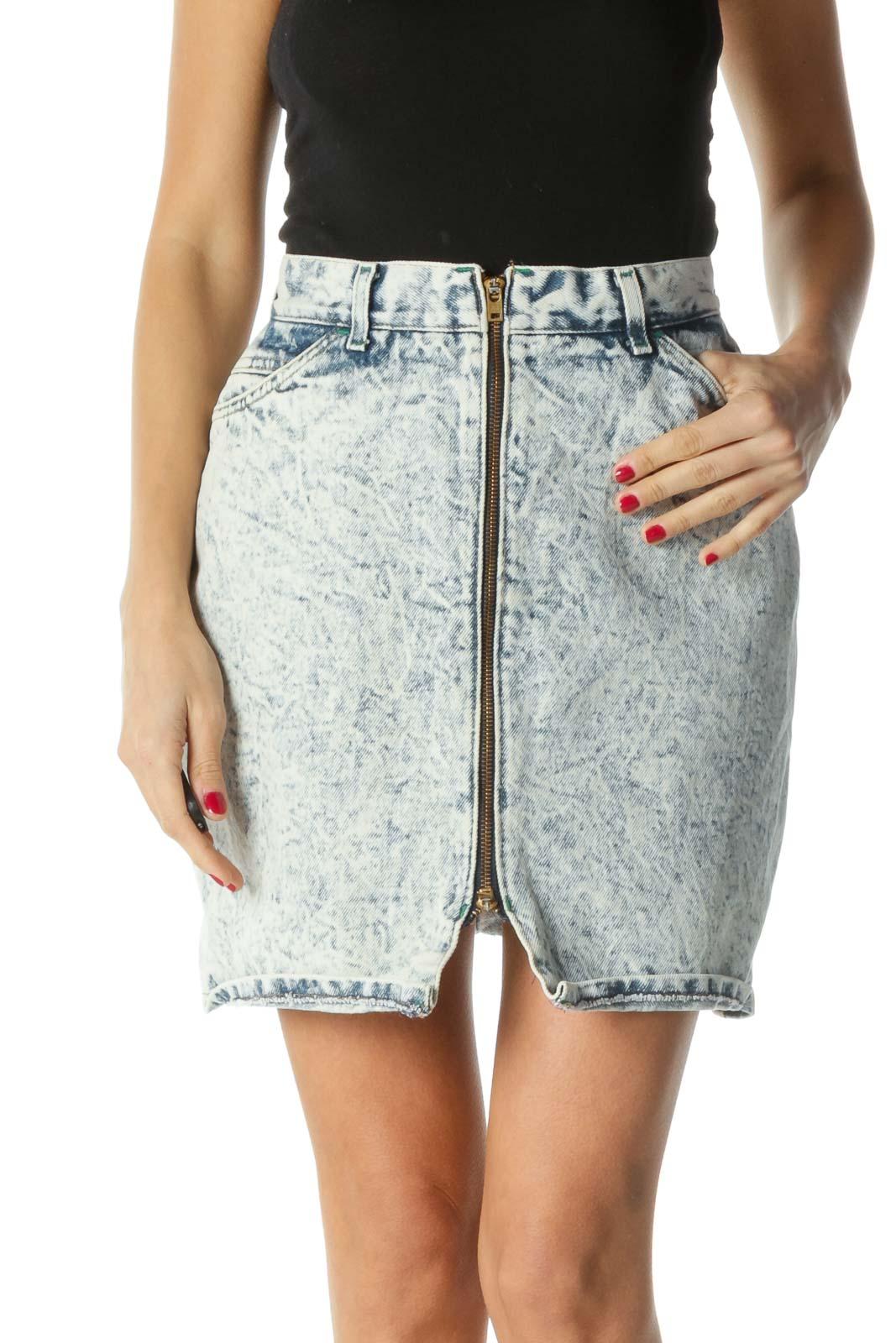 Blue Zippered Bleach Design Denim Skirt Front