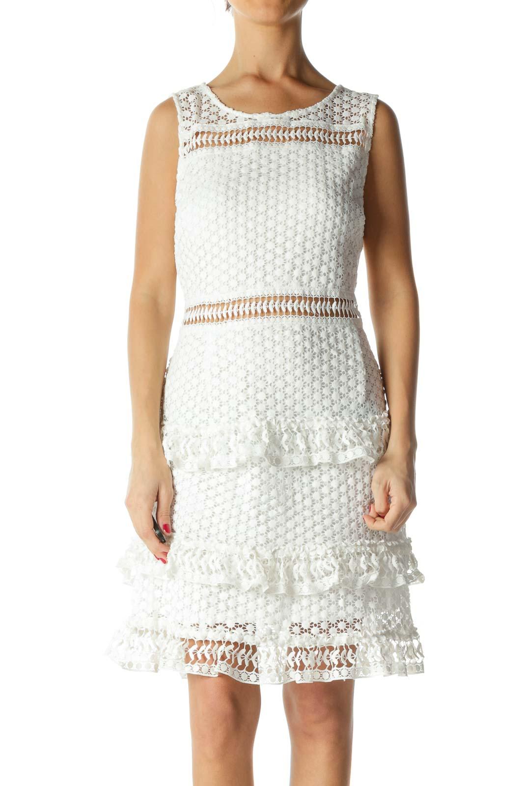 White Layered Lace Sheath Dress Front
