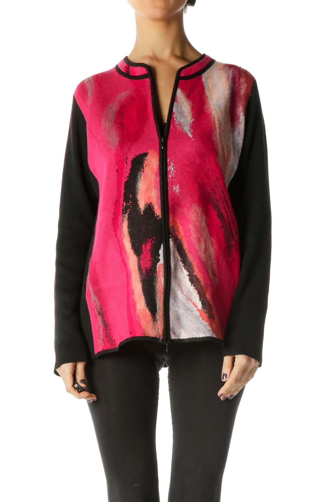 Red Long Sleeve Bomber Jacket Front