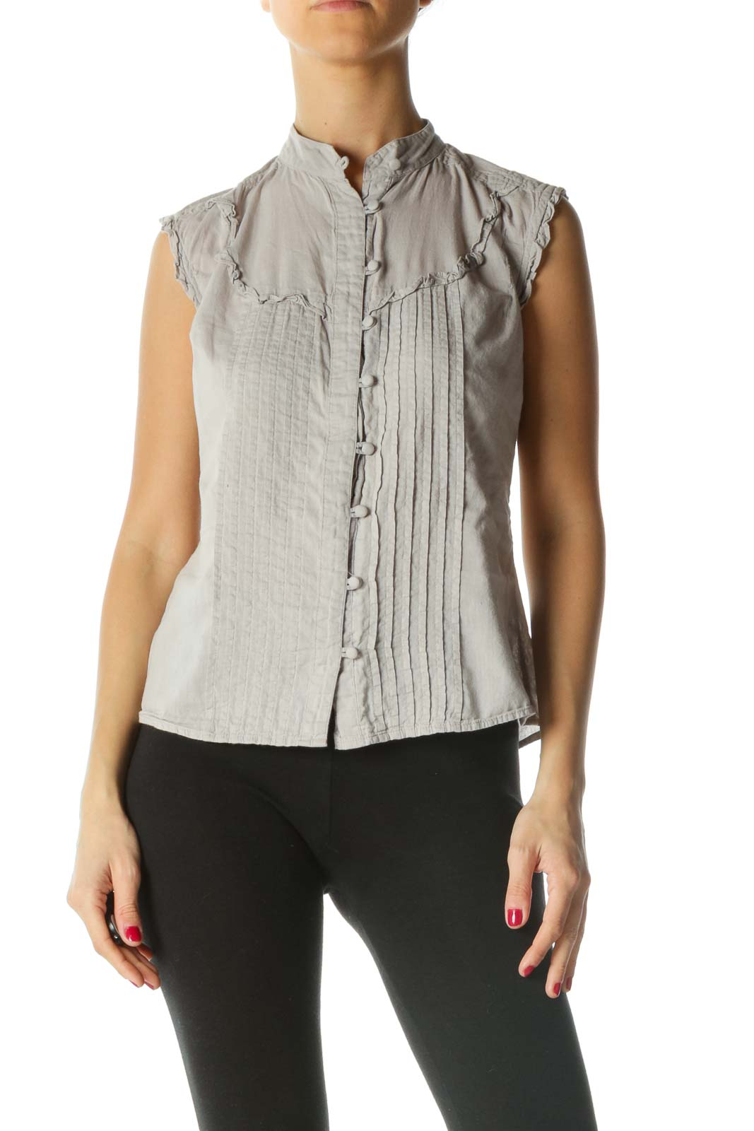 Gray Pleated Ruffle Detail Knit Sleeveless Top Front