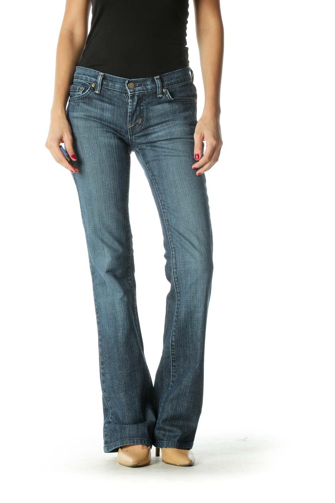 Blue Dark Wash Flared Jeans Front