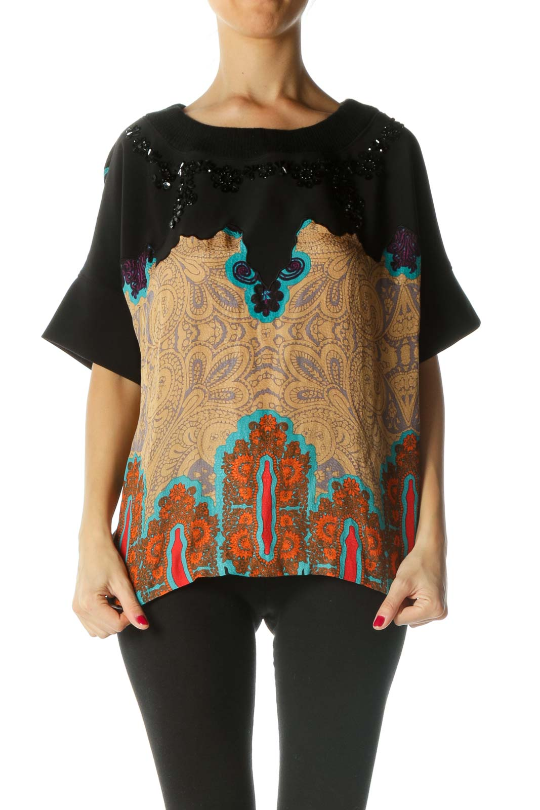 Black Multicolored Print Sequined Mixed-Media Top Front