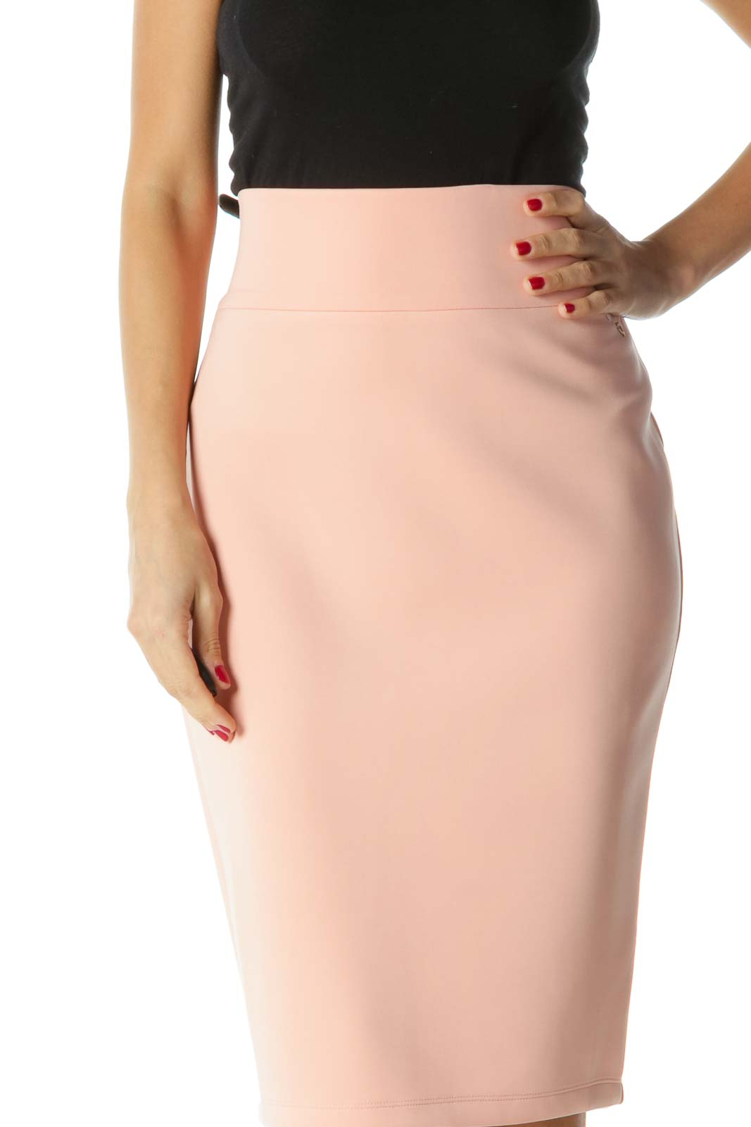 Pink Stretch Pencil Skirt Front