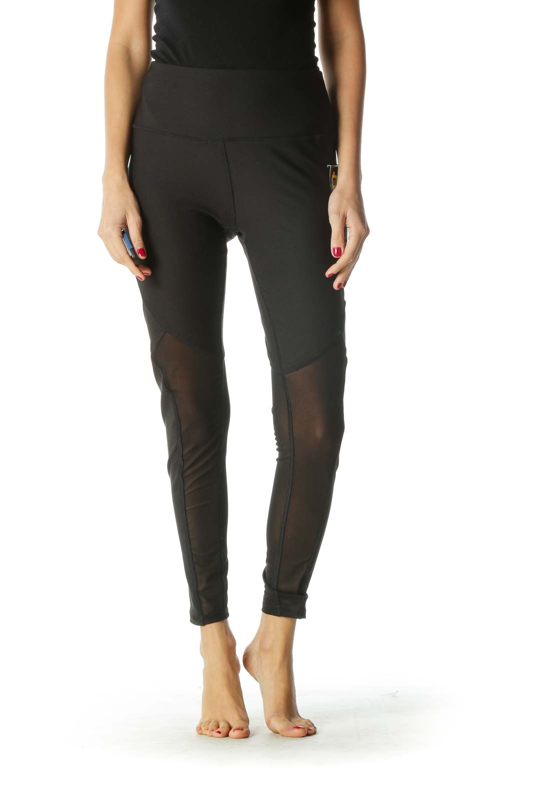 Black Sheer Detail Active Leggings Front