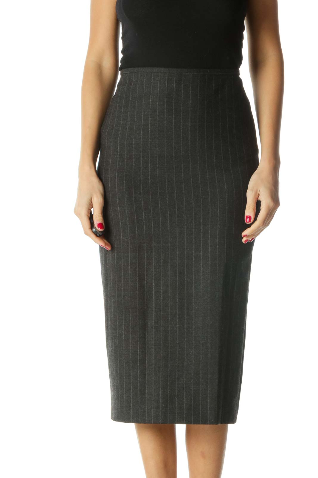 Gray Striped Pencil Skirt Front