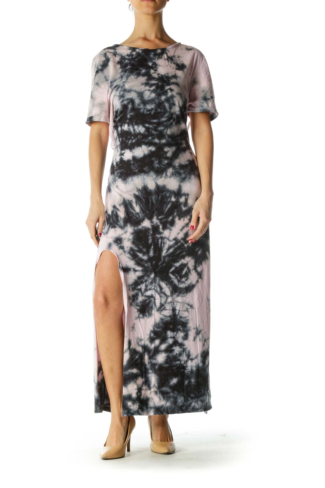 Pink Blue Tie Dye Crisscross Back Maxi Dress Front